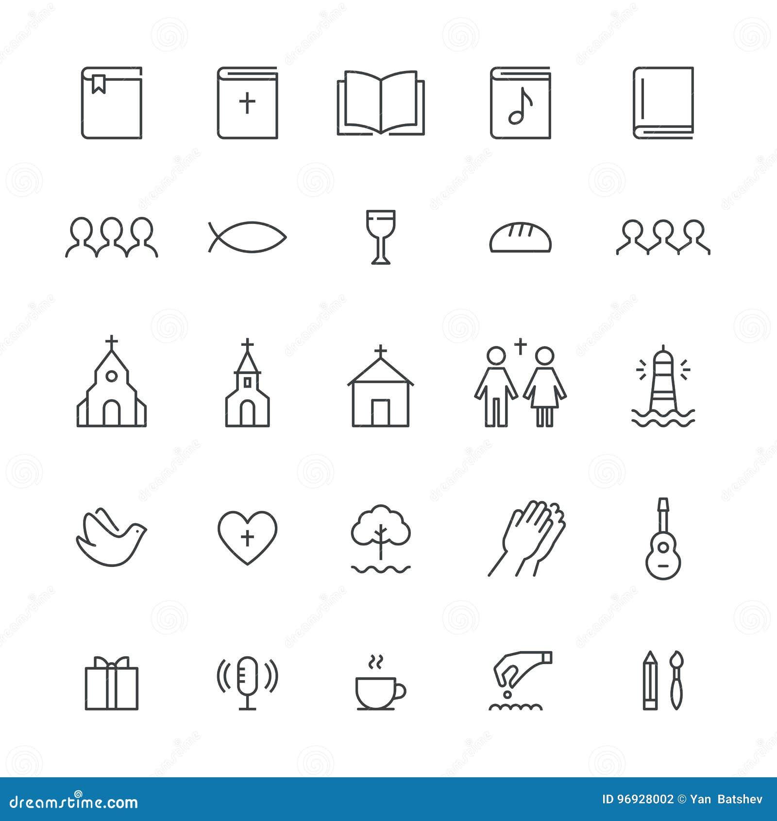 Iglesia y Christian Community Flat Outline Icons Sistema del vector