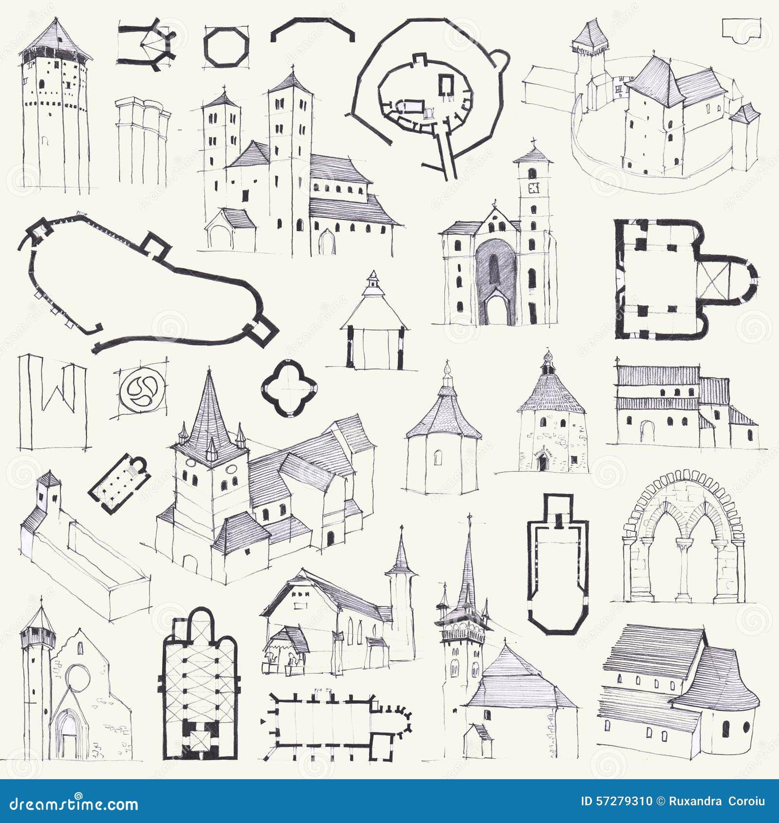 Iglesias fortificadas Dé el dibujo de planes, de elevaciones, de perspectivas y de detalles
