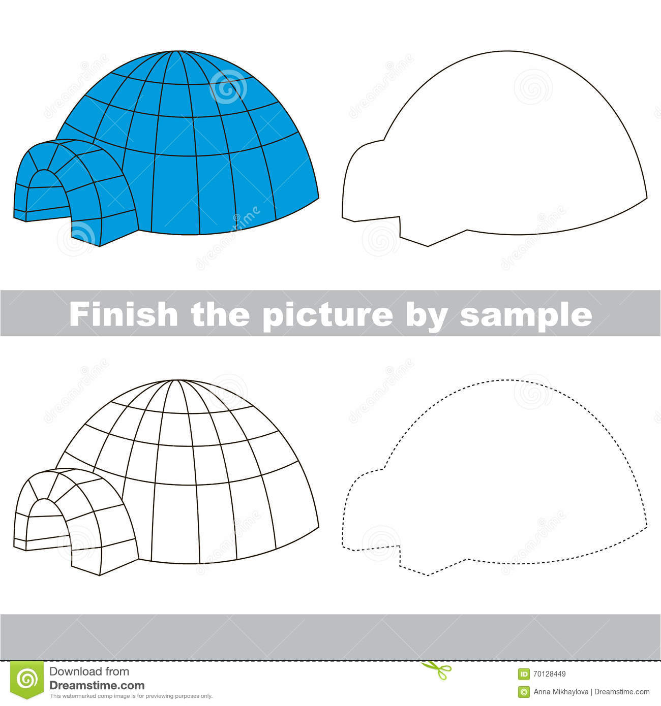 Igloo drawing worksheet stock vector illustration of school igloo drawing worksheet pooptronica
