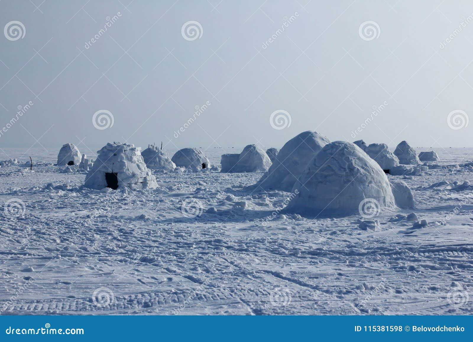 Igloo. Eskimos Village. Stock Photo. Image Of Night