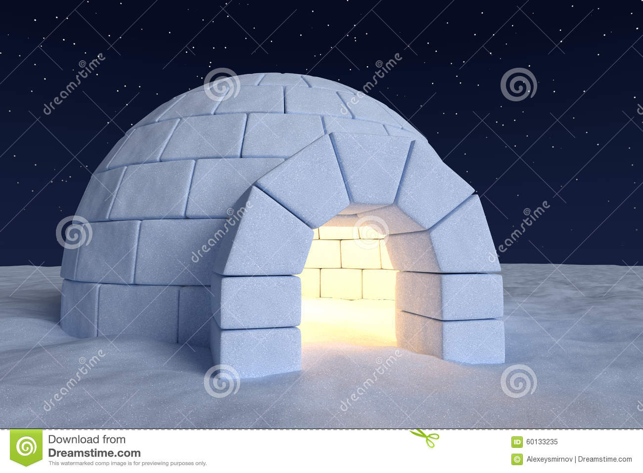 Igloo Icehouse With Warm Light Inside Under Night Sky With ...