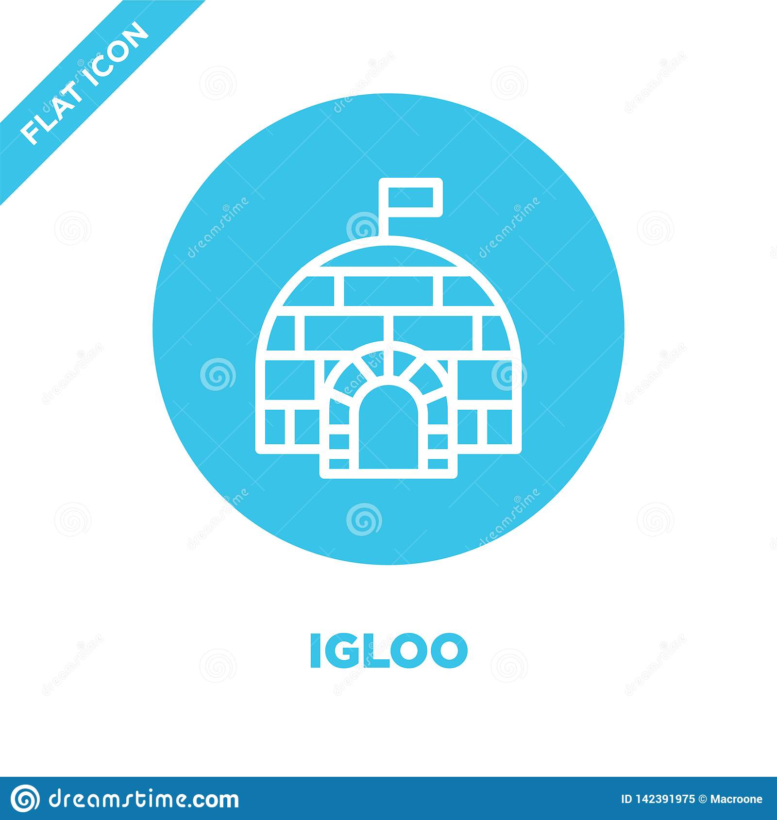 igloo icon vector from seasons collection. Thin line igloo outline icon vector  illustration. Linear symbol for use on web and
