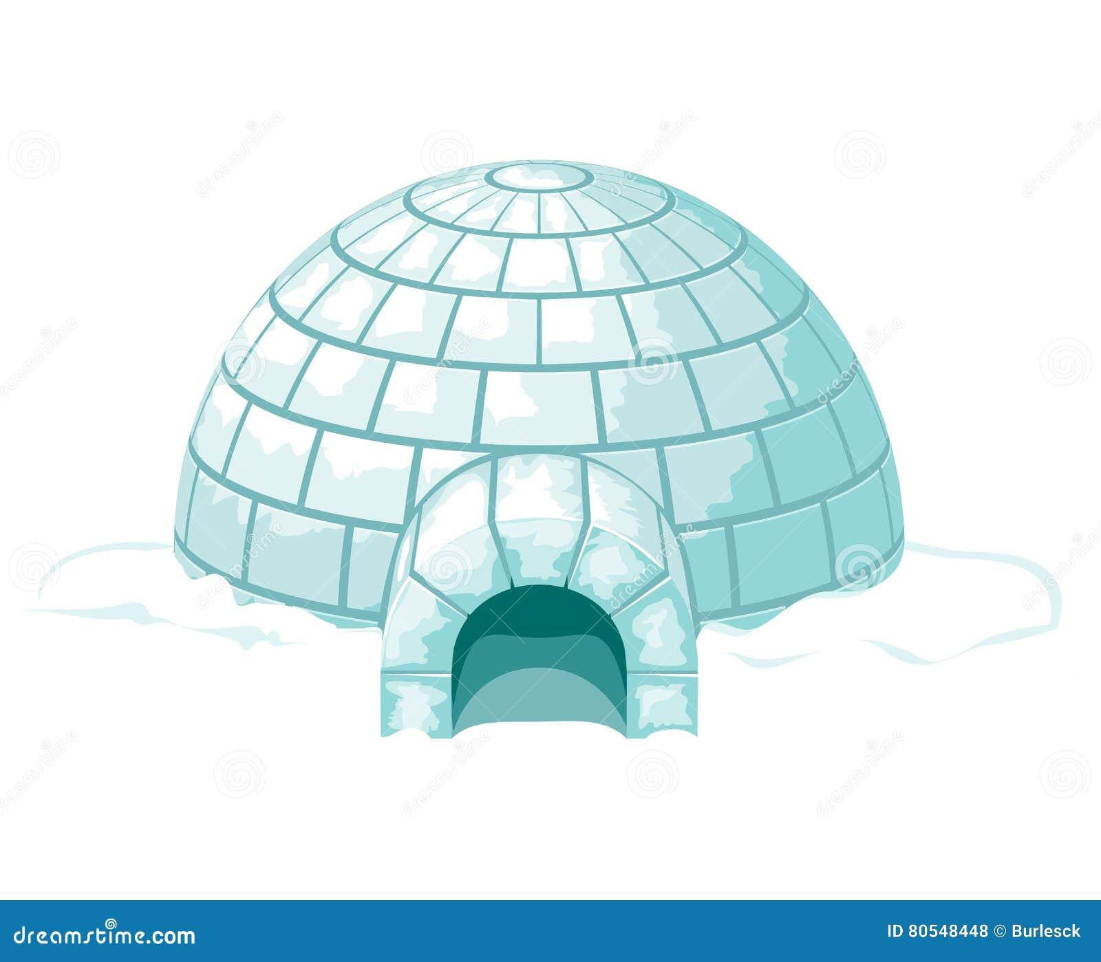 Igloo Illustrazione fredda ghiacciata di vettore della ghiacciaia o della casa