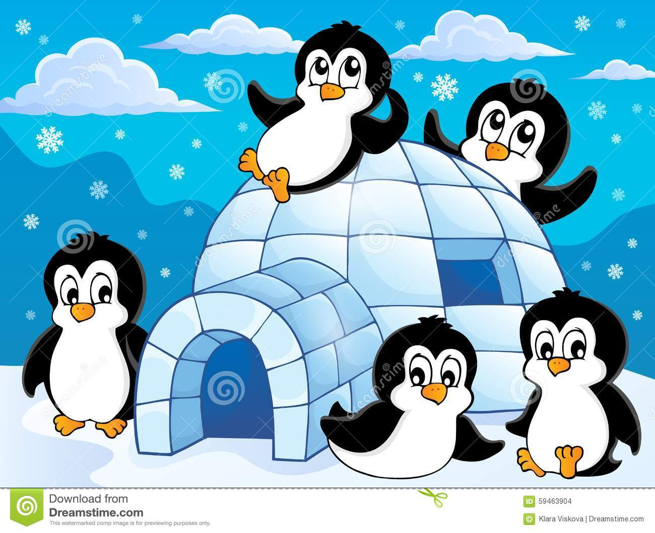 igloo with penguins theme 1 stock vector image 59463904 Thank You Clip Art Disney Cute Thank You Clip Art