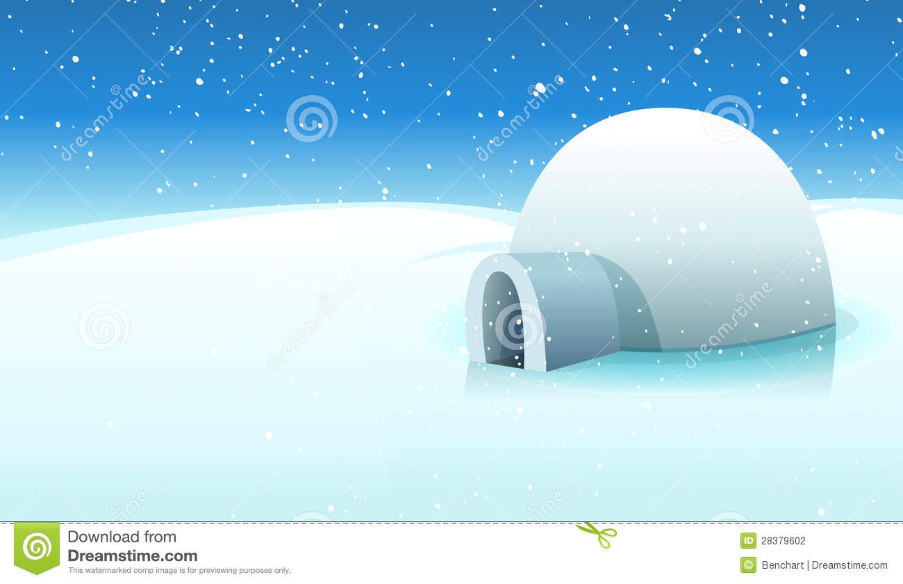 Igloo And Polar Icy Background Stock Vector