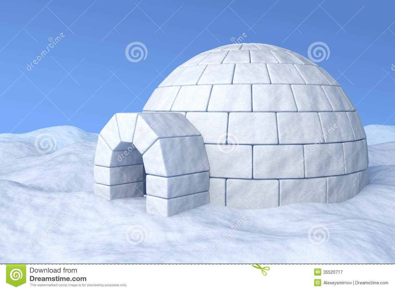 Igloo icehouse on the white snow under blue sky three-dimensional ...