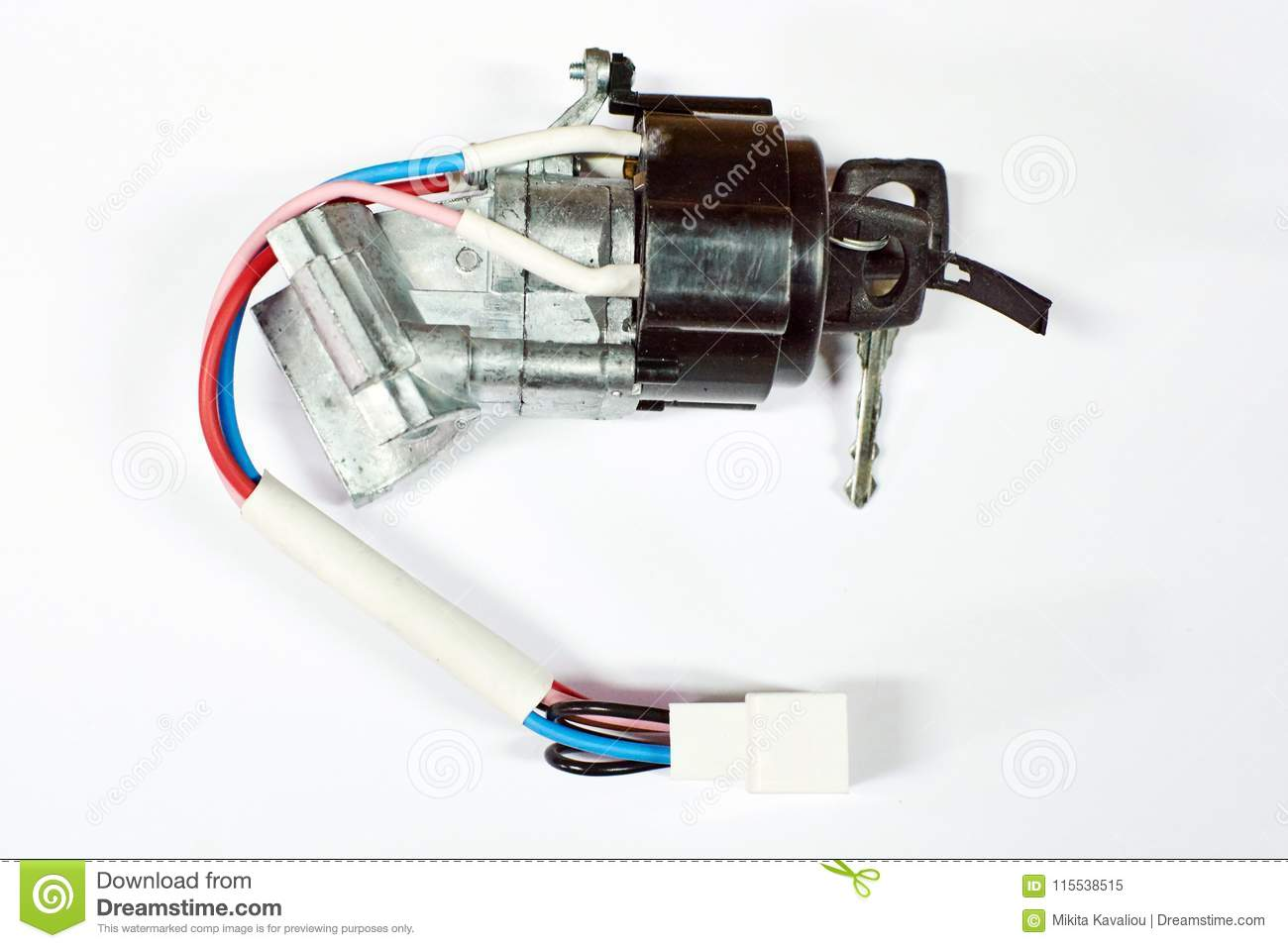 Ignition Lock With Car Key Stock Image Image Of Parts Isolated