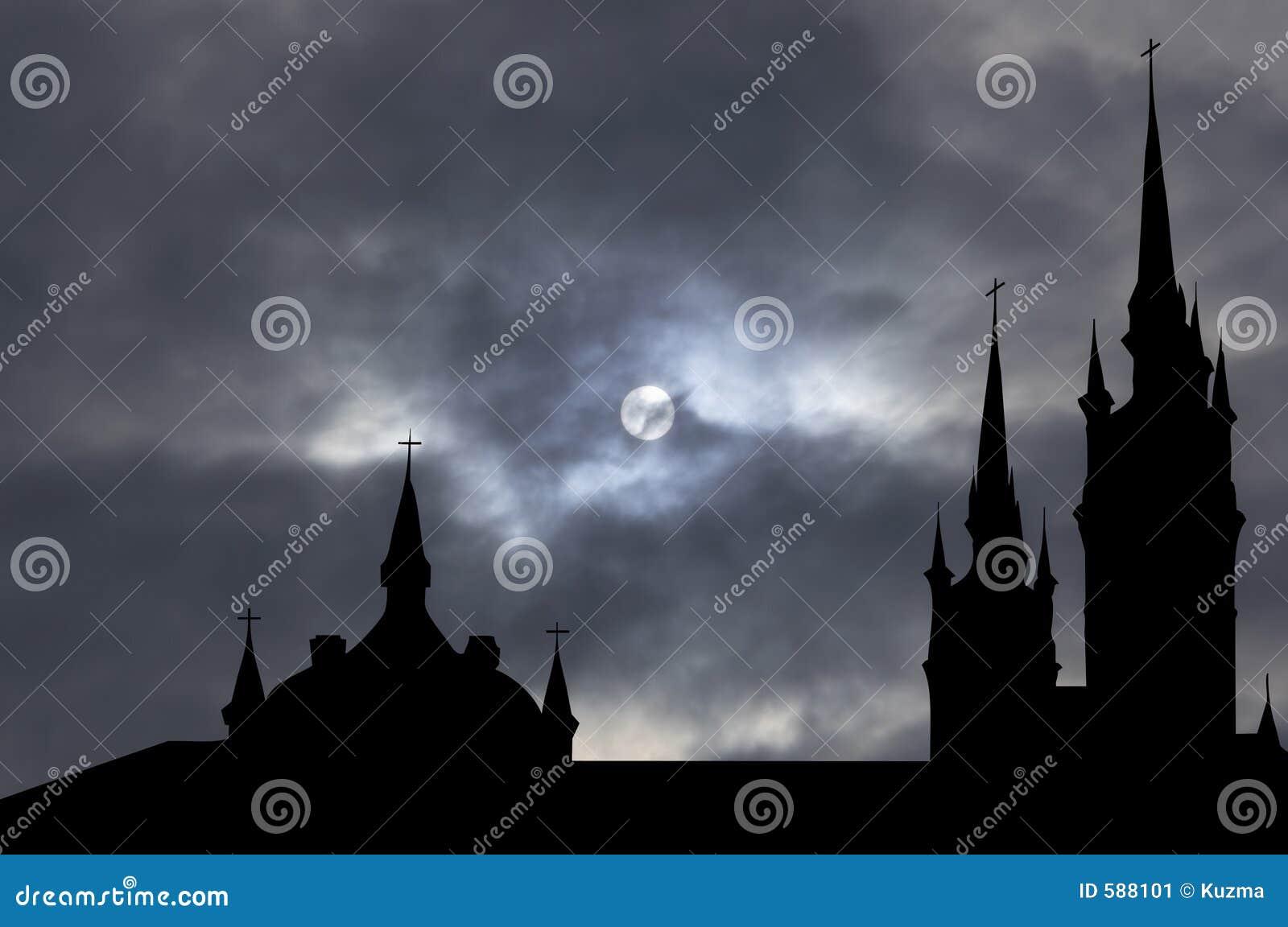 Igreja católica com trajeto de grampeamento