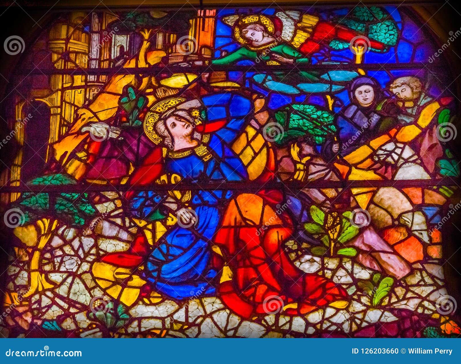 Igreja de Mary Angel Stained Glass Window Orsanmichele do aviso