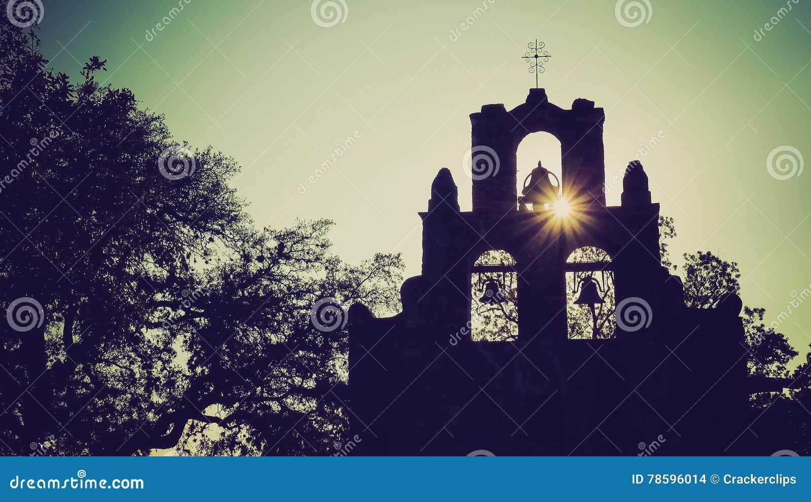 Igreja espanhola Bels de Espada da missão em San Antonio, Texas