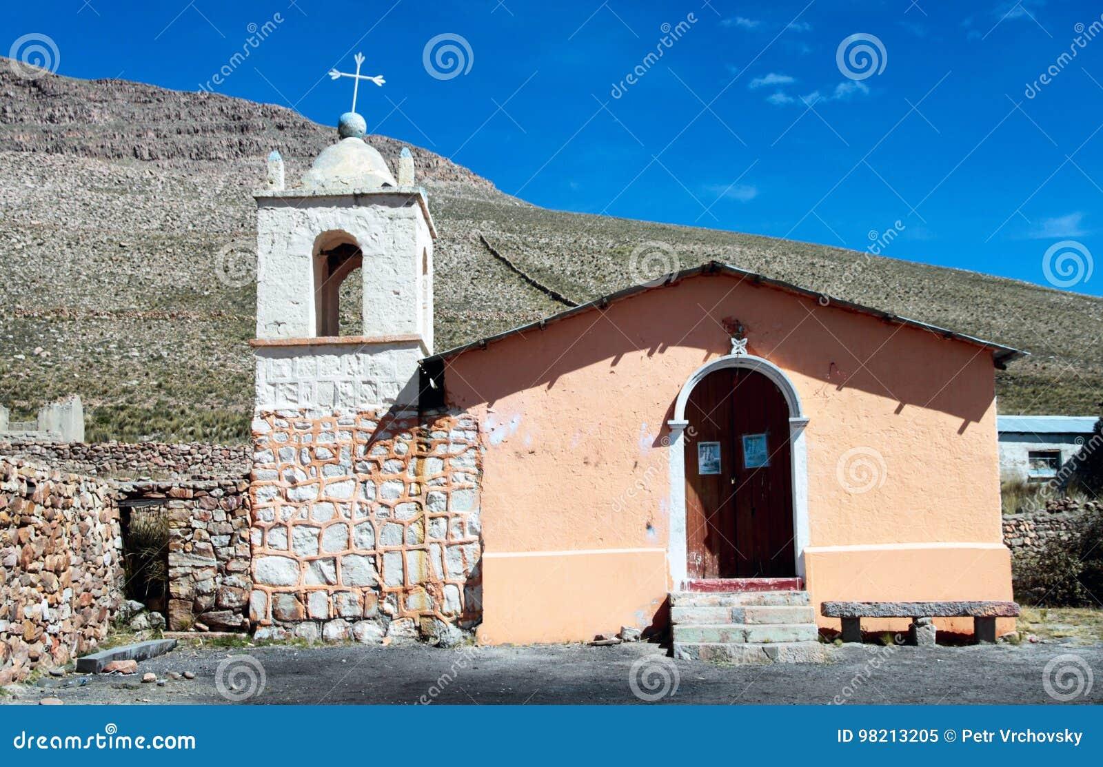 Igreja esquecida na vila de Sumbay, Peru do sul