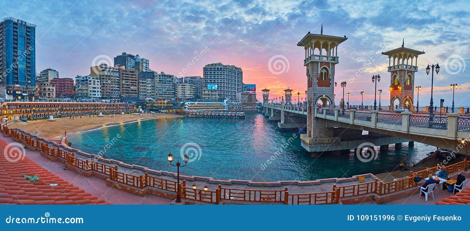 Igualación del paseo en la vecindad de Stanley, Alexandría, Egipto