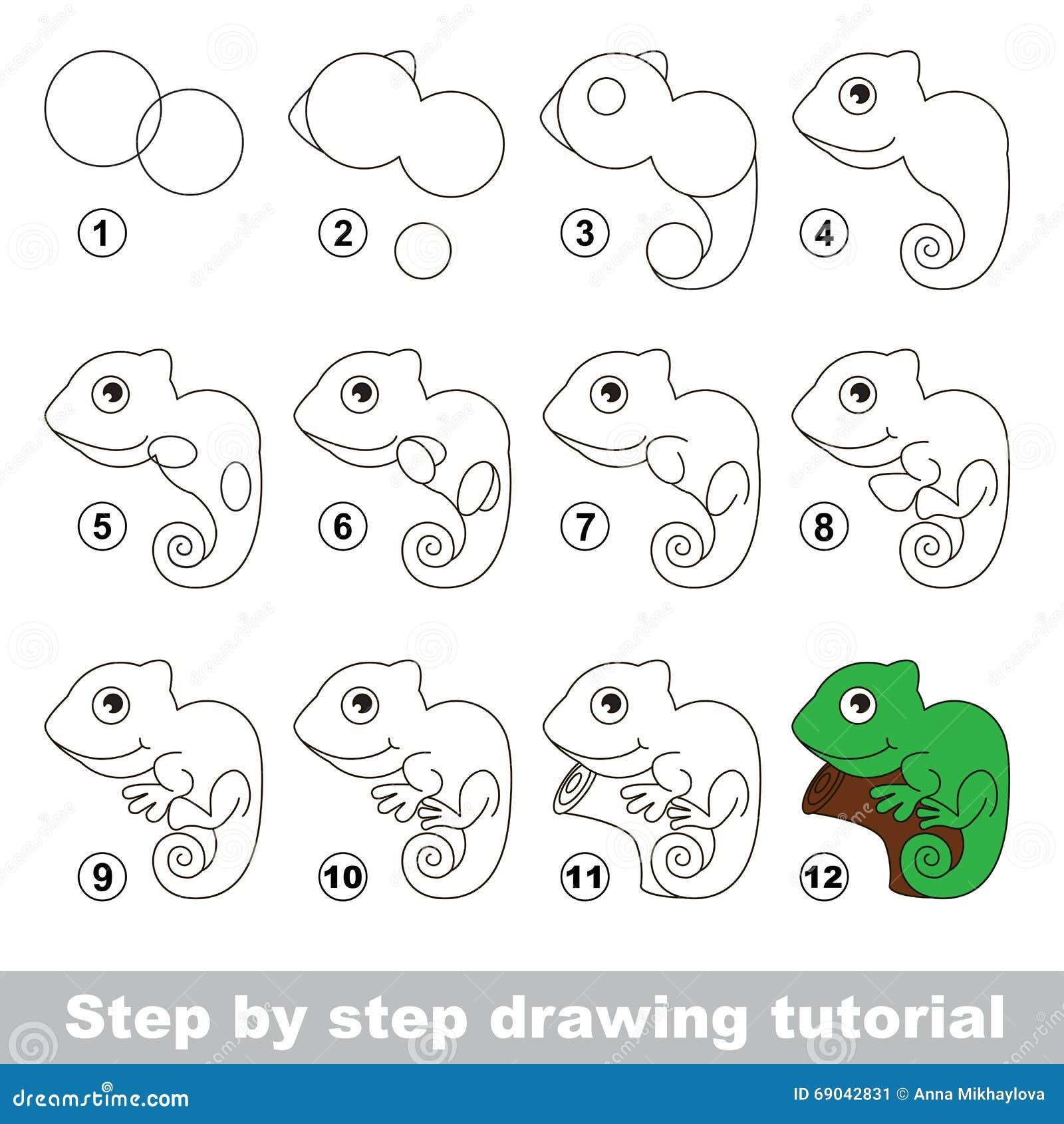 Iguana Drawing Tutorial Stock Vector Illustration Of Green 69042831