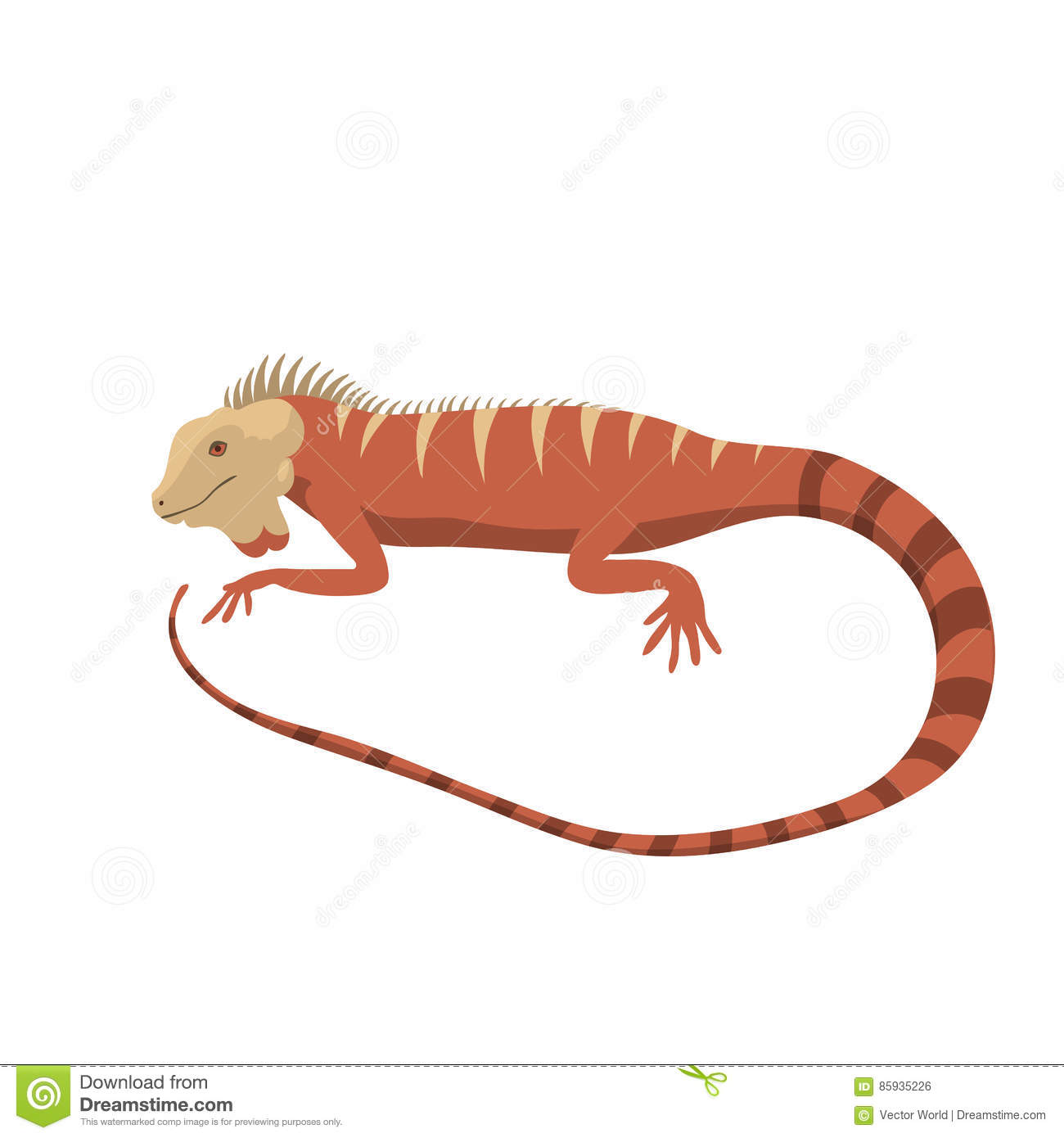 Iguana Lizard Reptile Vector Illustration Wild Cartoon Nature Dragon Funny Design Flat Drawing Body Monster Character