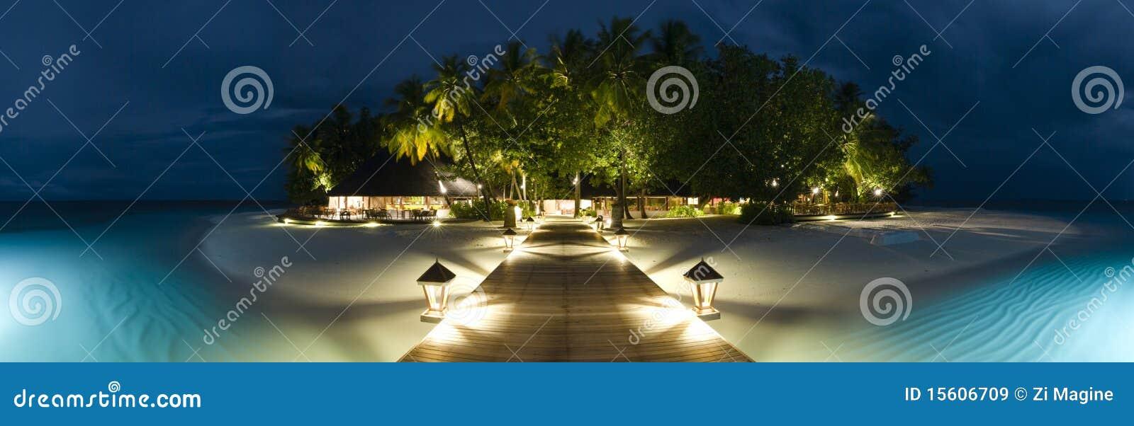 Ihuru Island Maldives Panormaic View By Night Stock Image