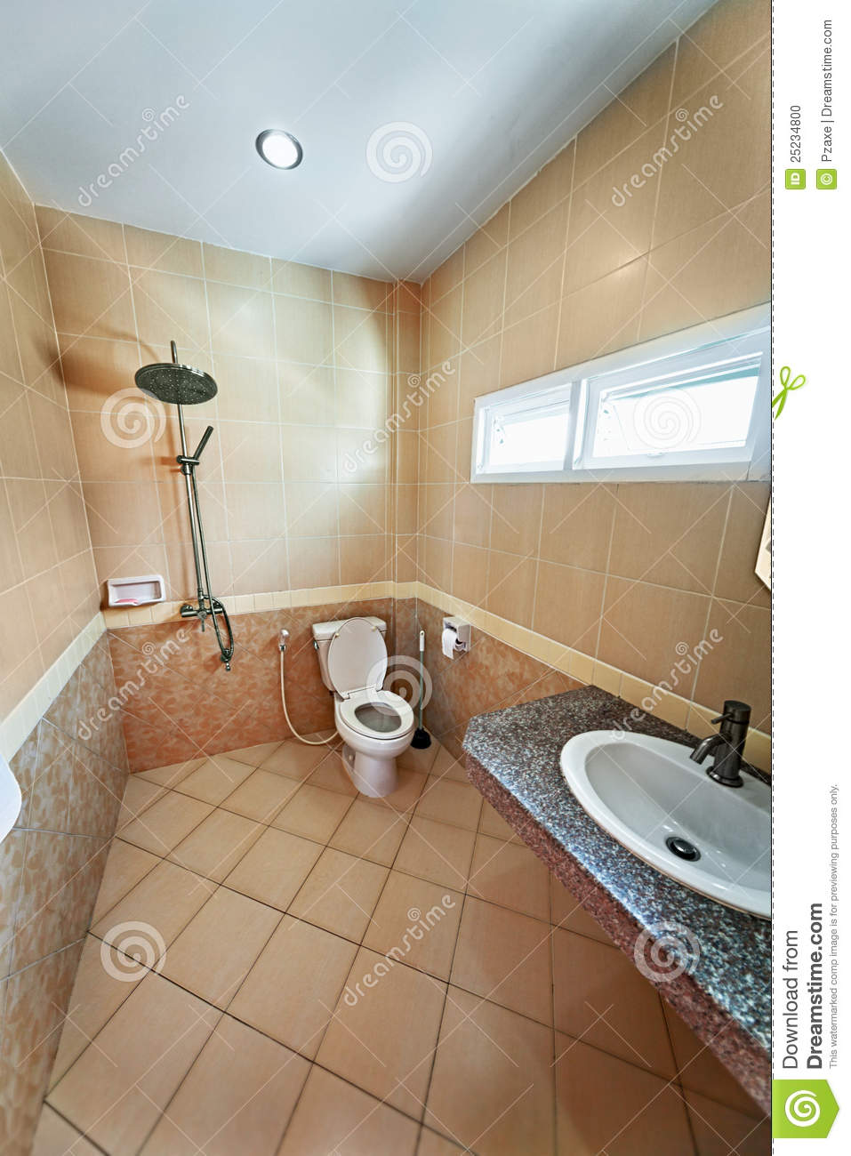 Iinterior of beige bathroom with shower stock photo for Petite salle de bain agencement