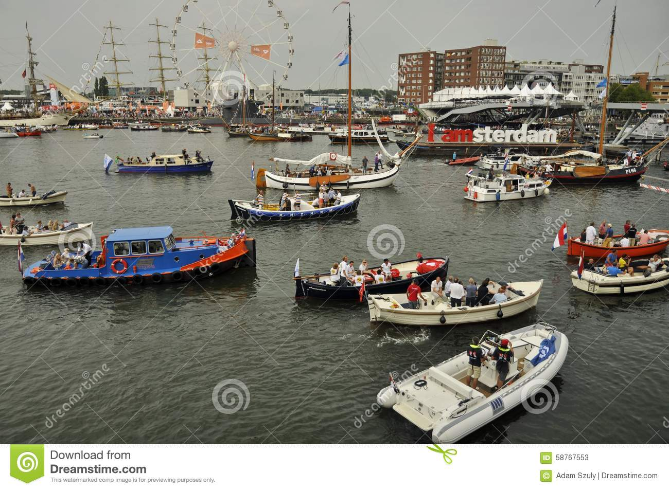 The ijhaven port with the iamsterdam sign editorial stock photo