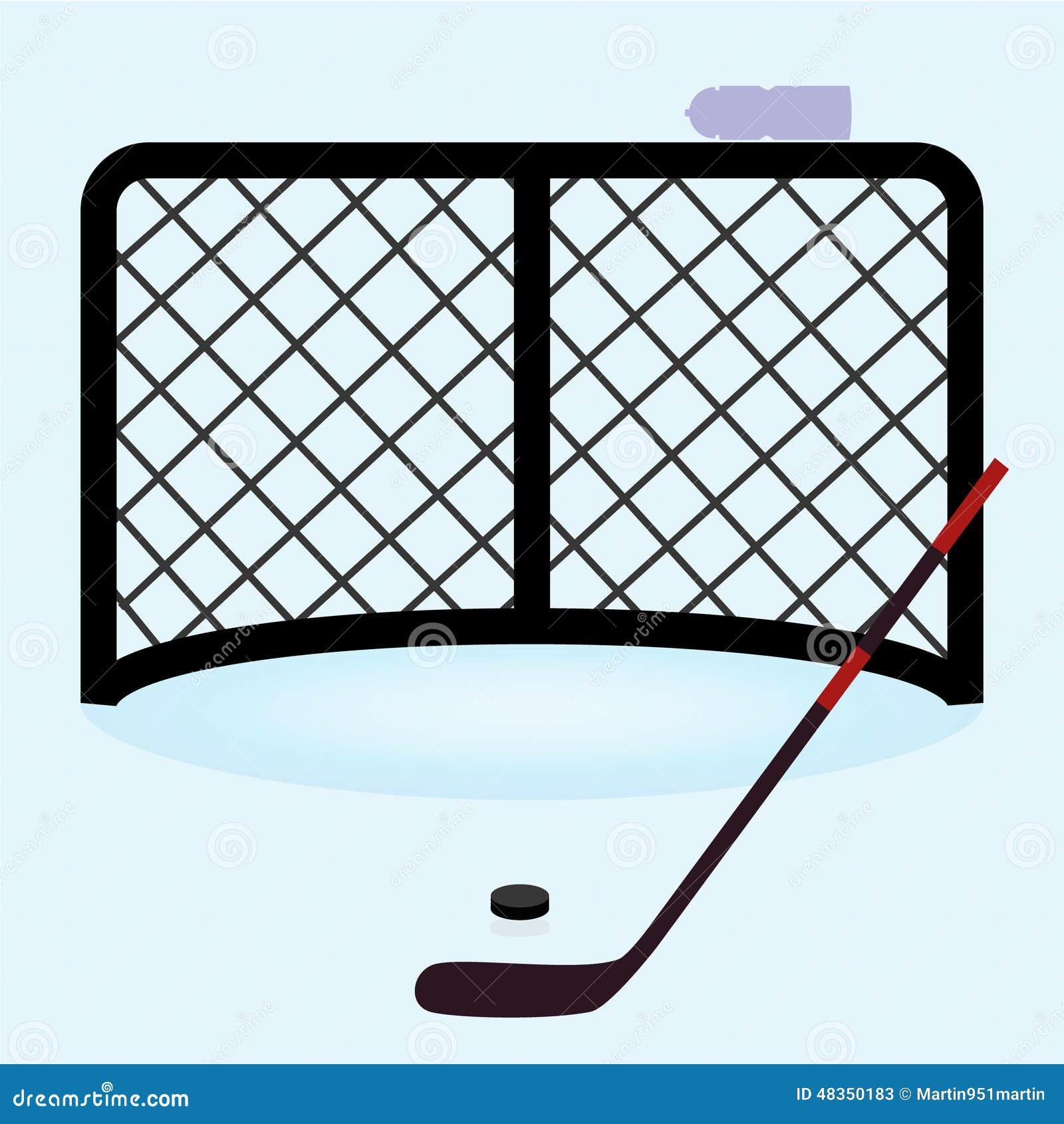 Ijshockey netto poort met hockeystok en puck eps10