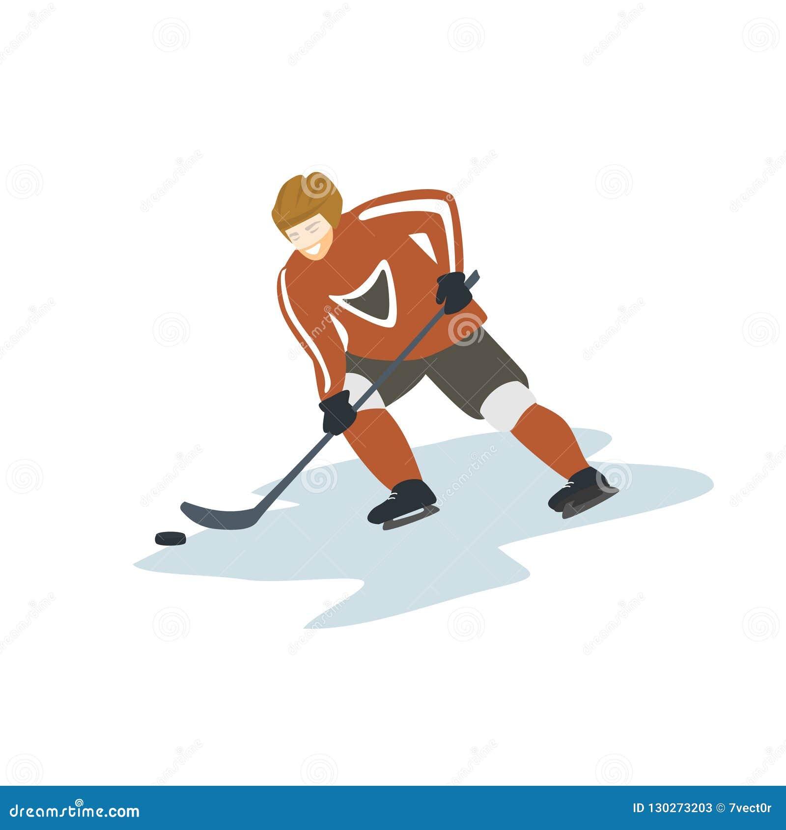 Ijshockeyspeler geïsoleerde vectorillustratie