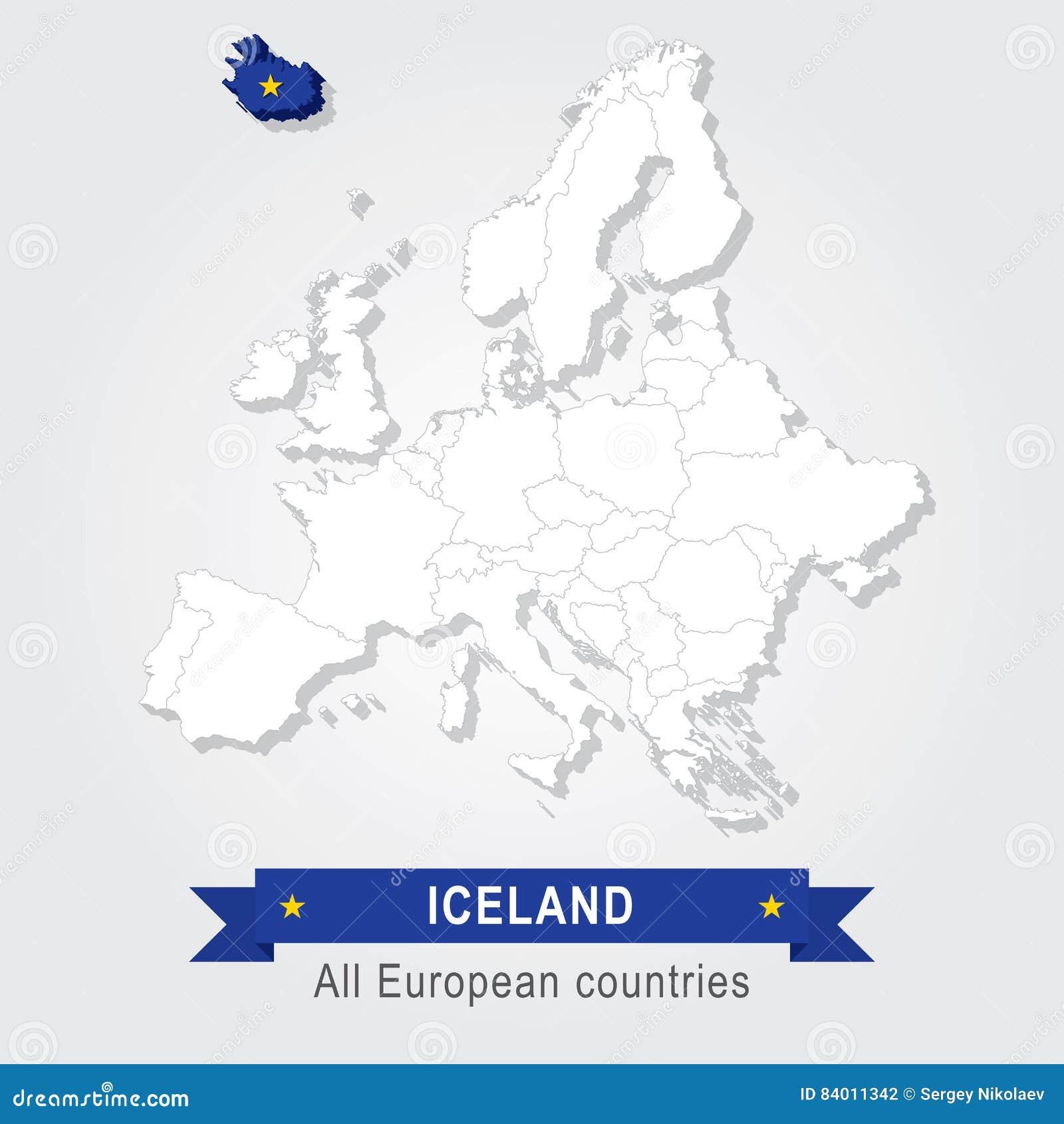 Ijsland De Administratieve Kaart Van Europa Vector Illustratie