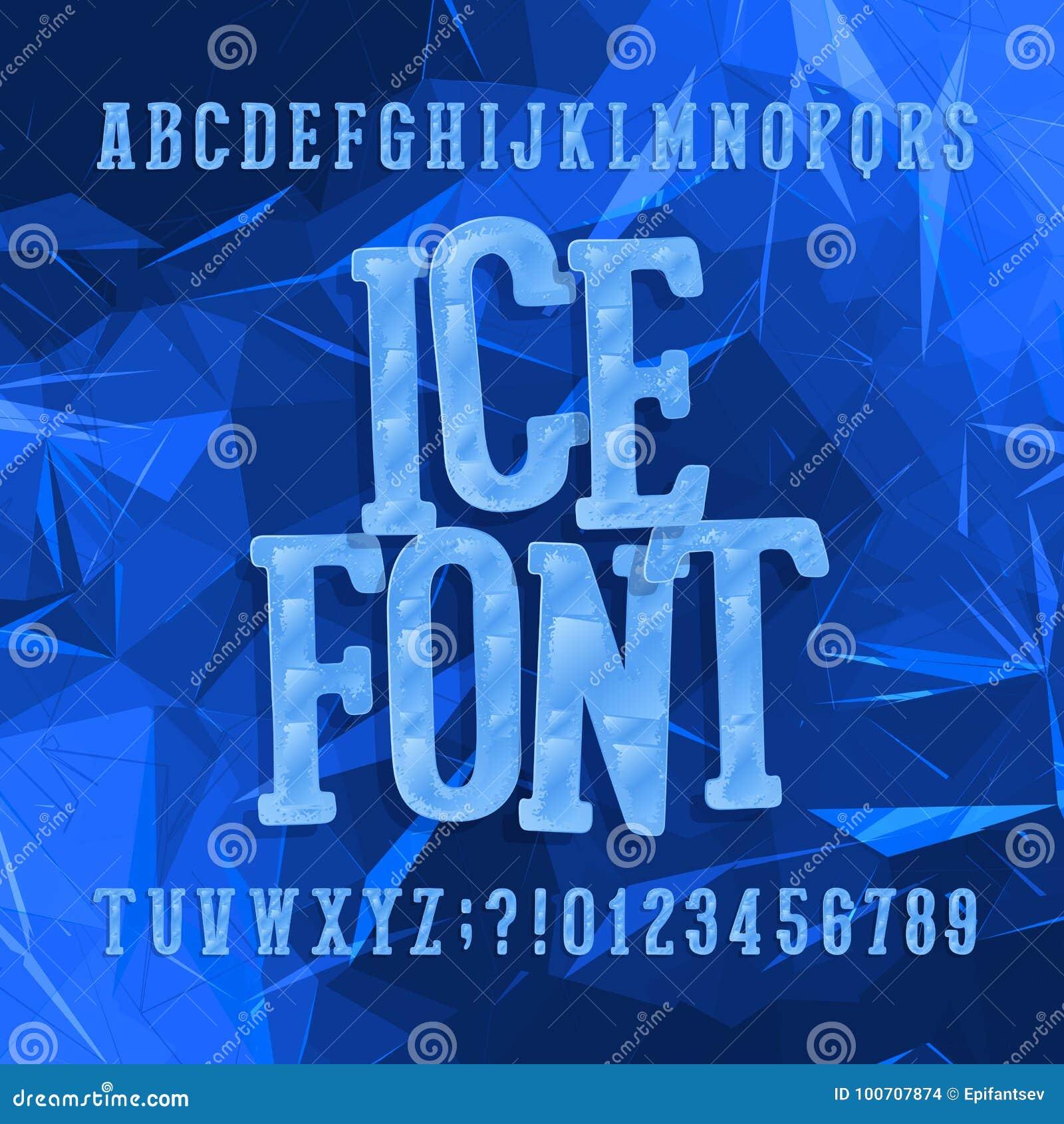 Ijslettersoort Alfabetdoopvont Letters en getallen Abstracte Blauwe Achtergrond