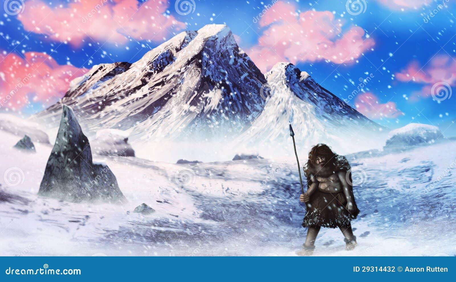 Ijstijd Neanderthaler jager in een sneeuwonweer - het digitale schilderen