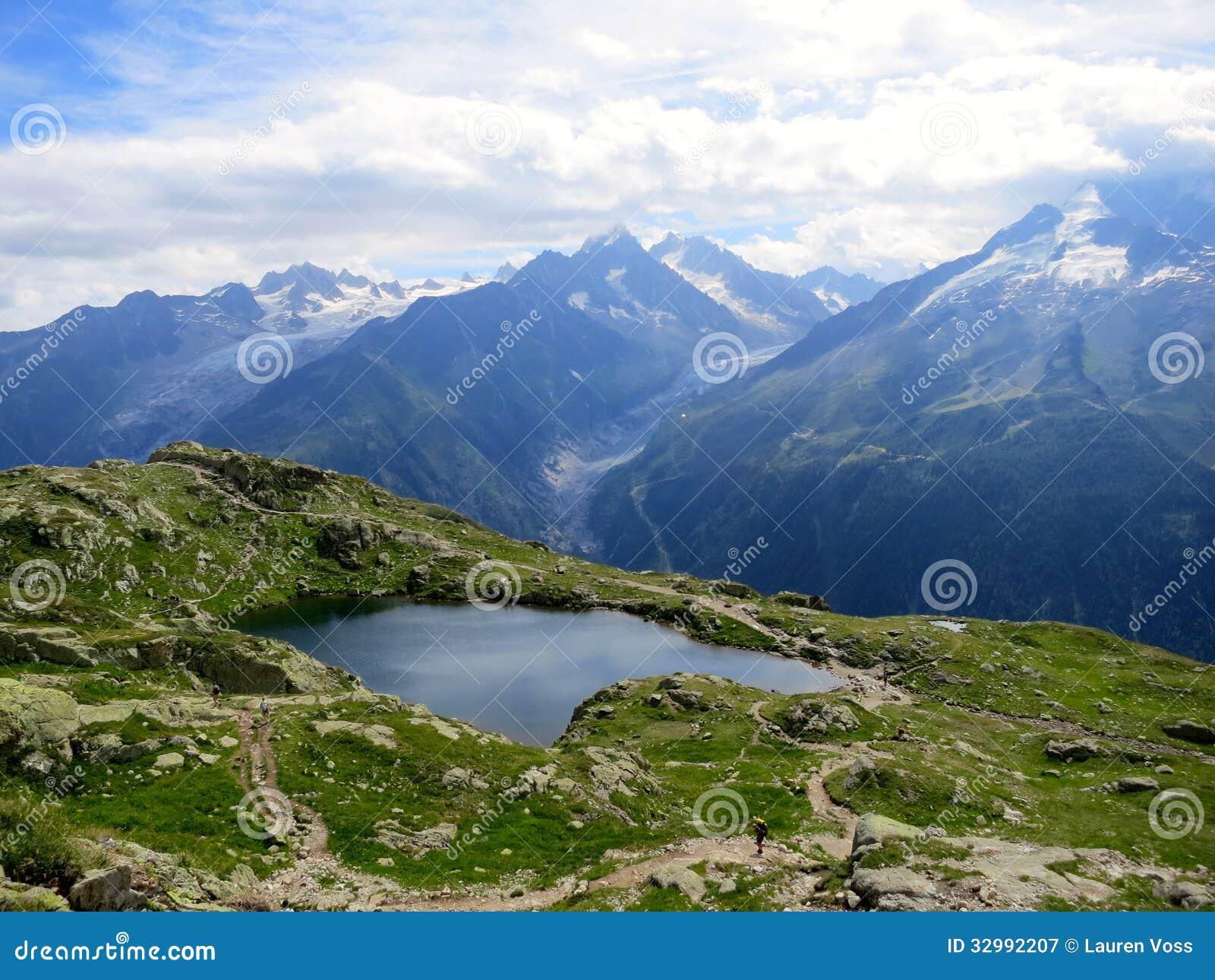 Ijzig meer in de zomer dichtbij chamonix franse alpen royalty vrije stock fotografie - Zomer keuken steen ...
