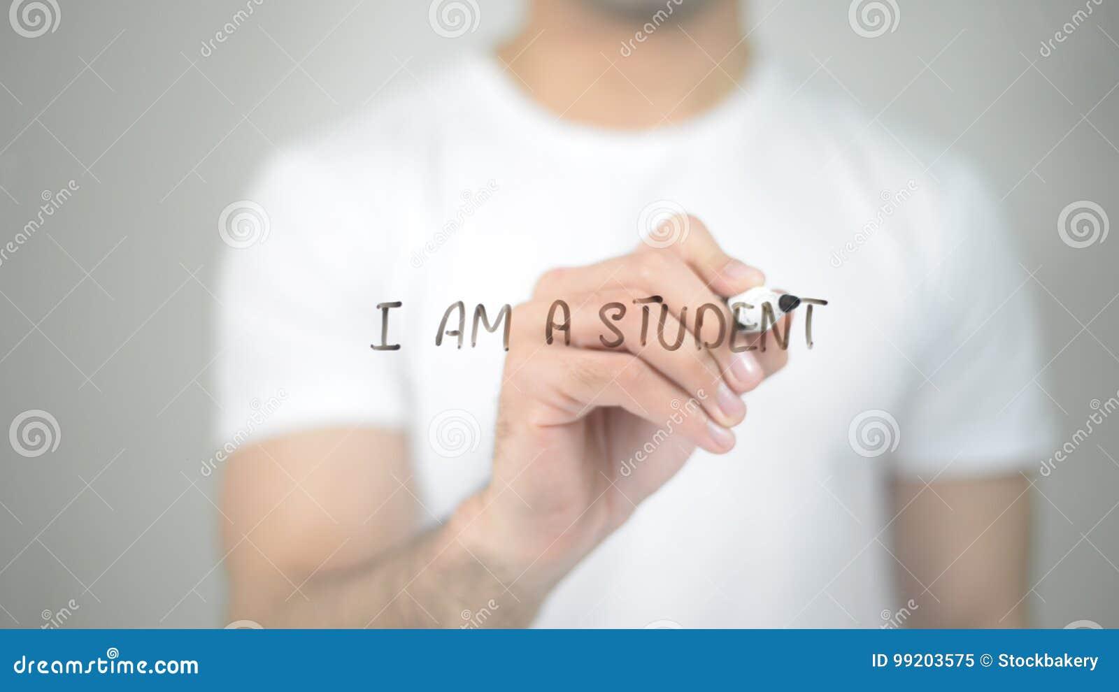 Ik ben een Student, mens die op het transparante scherm schrijven