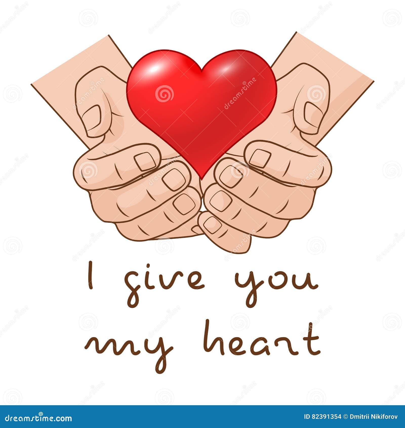 Ik geef u mijn hart Hart ter beschikking van romantisch giftconcept voor Valentijnskaartendag