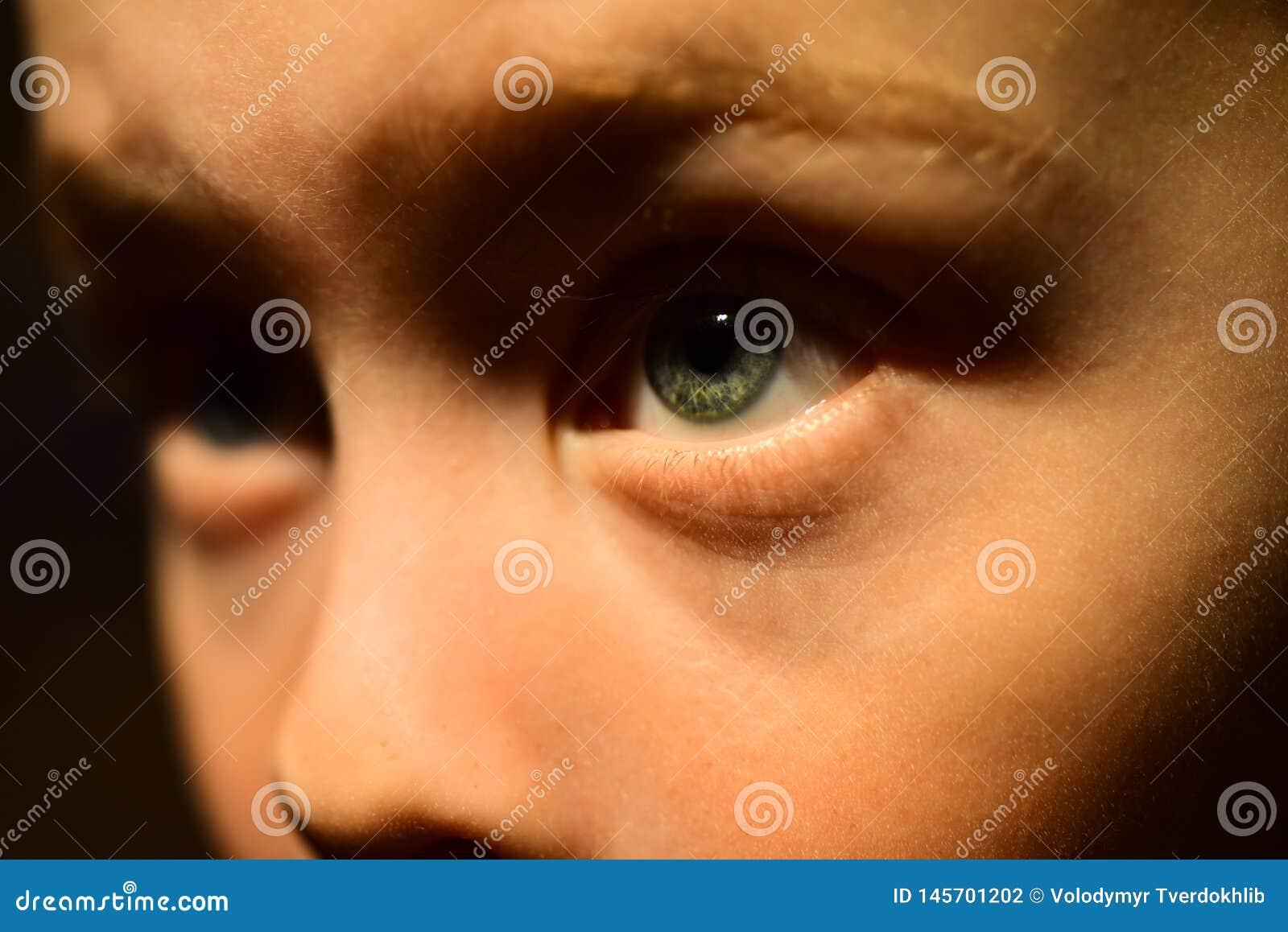 Ik heb slecht zicht De oogarts schrijft correctieve lens voor Weinig jongen met slecht ooggezicht De kleine contactlens van de jo