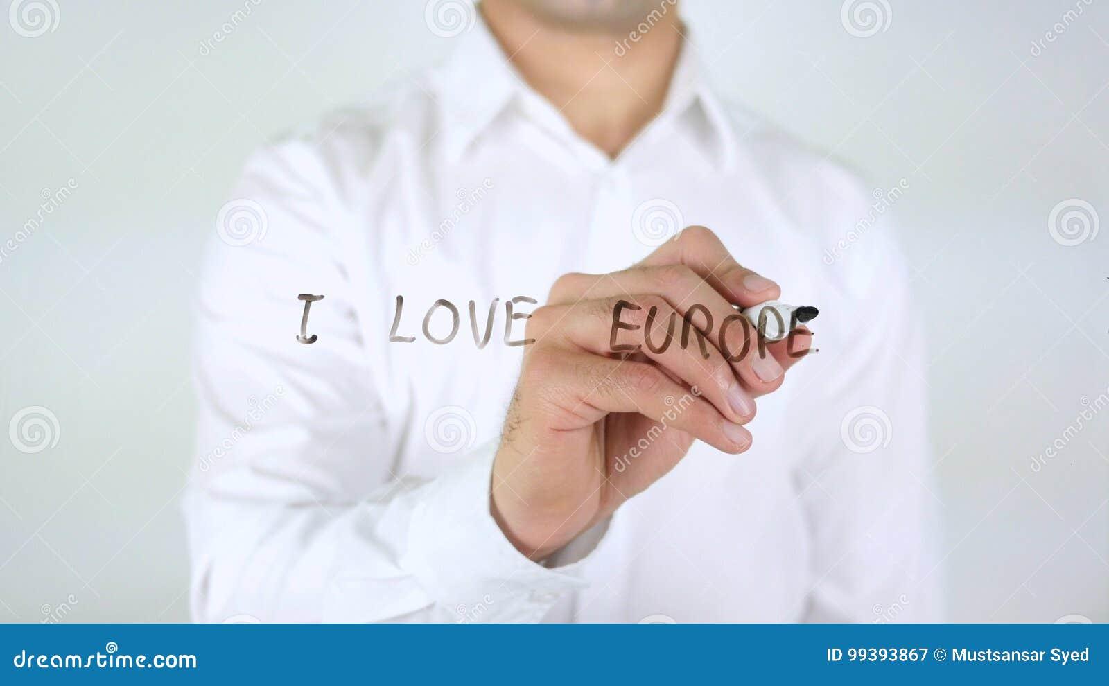 Ik houd van Europa, Zakenman Writing op Glas