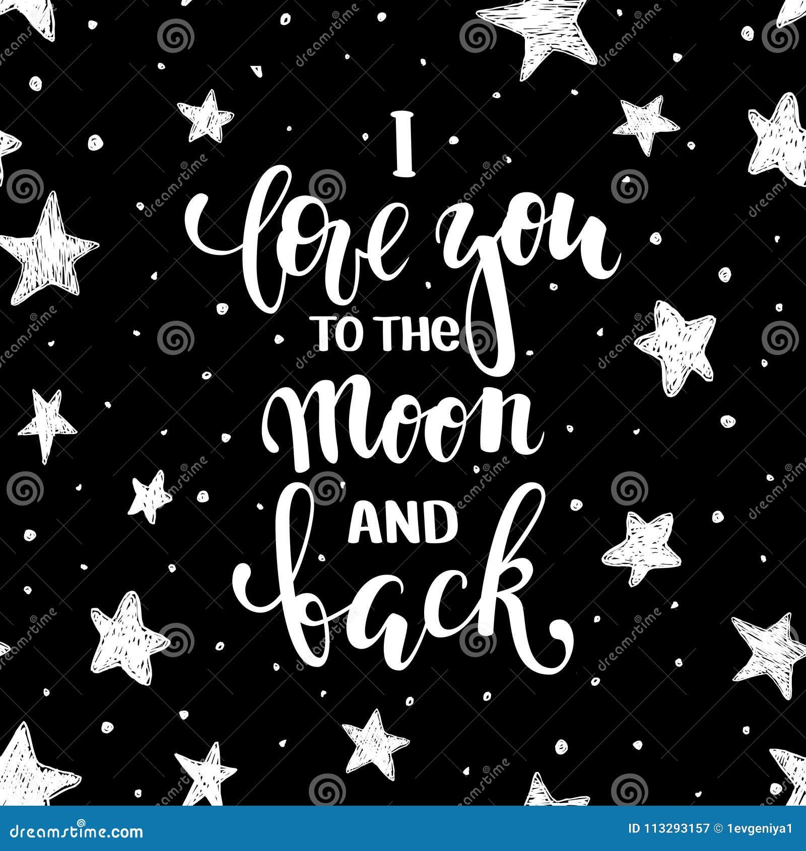 Ik houd van u aan de maan en de rug Hand het getrokken creatieve kalligrafie en borstelpen van letters voorzien geïsoleerd op wit
