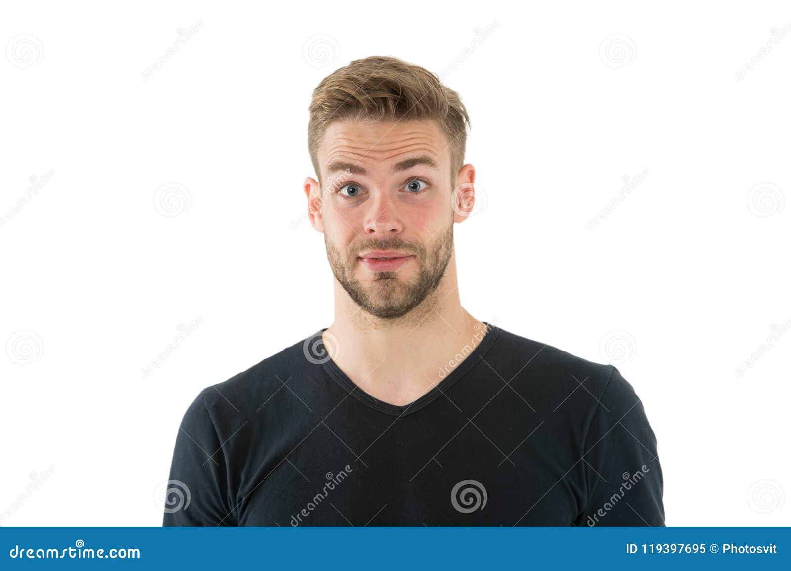 Ik verwachtte dat niet De mens met varkenshaar verraste gezicht geïsoleerde witte achtergrond Prettig verrassingsconcept Mens die