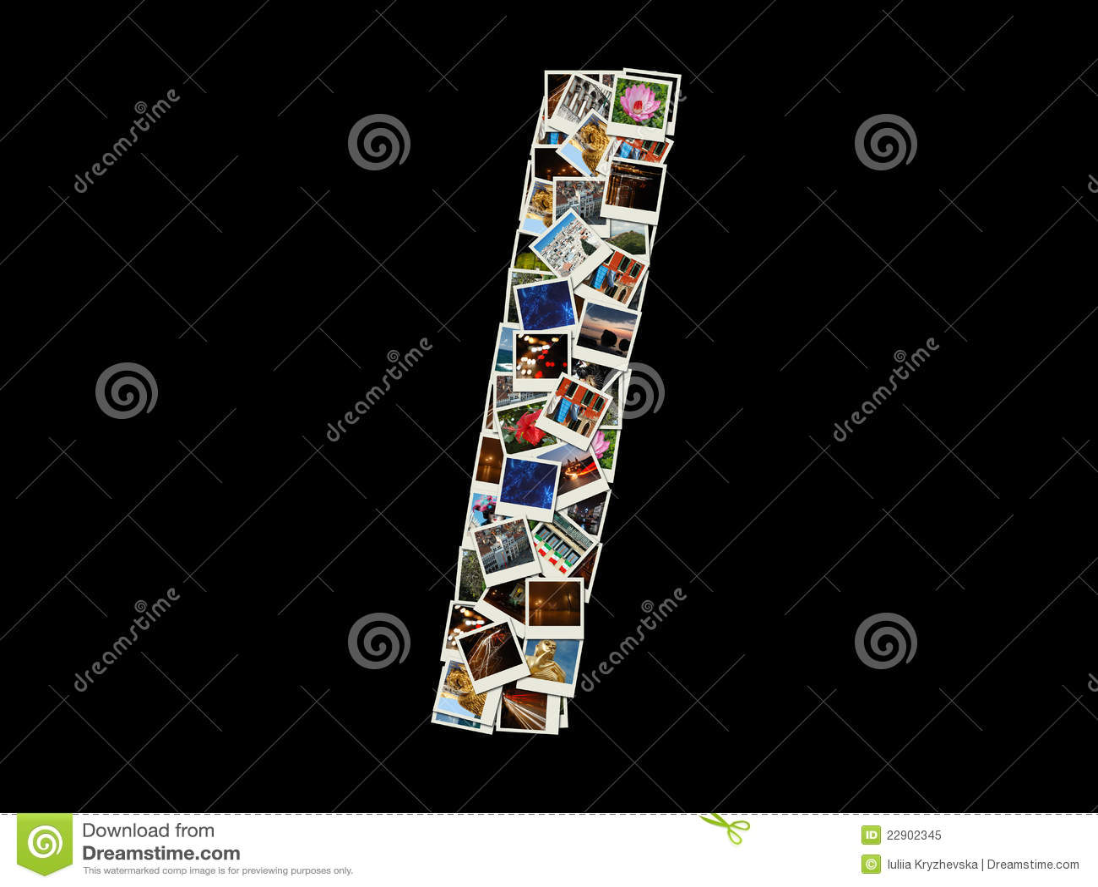 Ik voorzie - collage van reisfoto s van letters