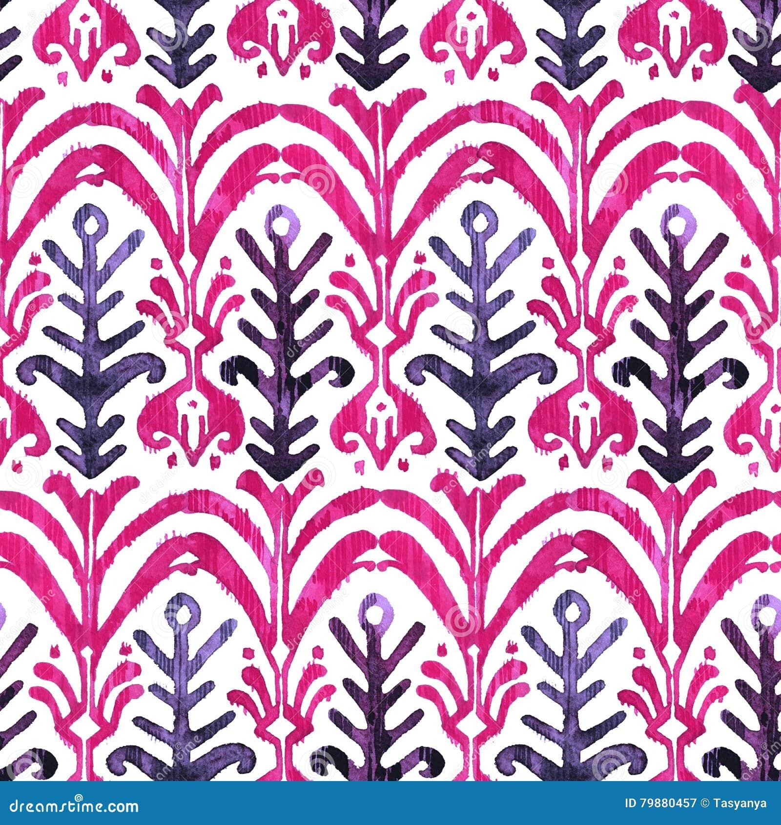 Ikat水彩无缝的样式 花卉充满活力的水彩