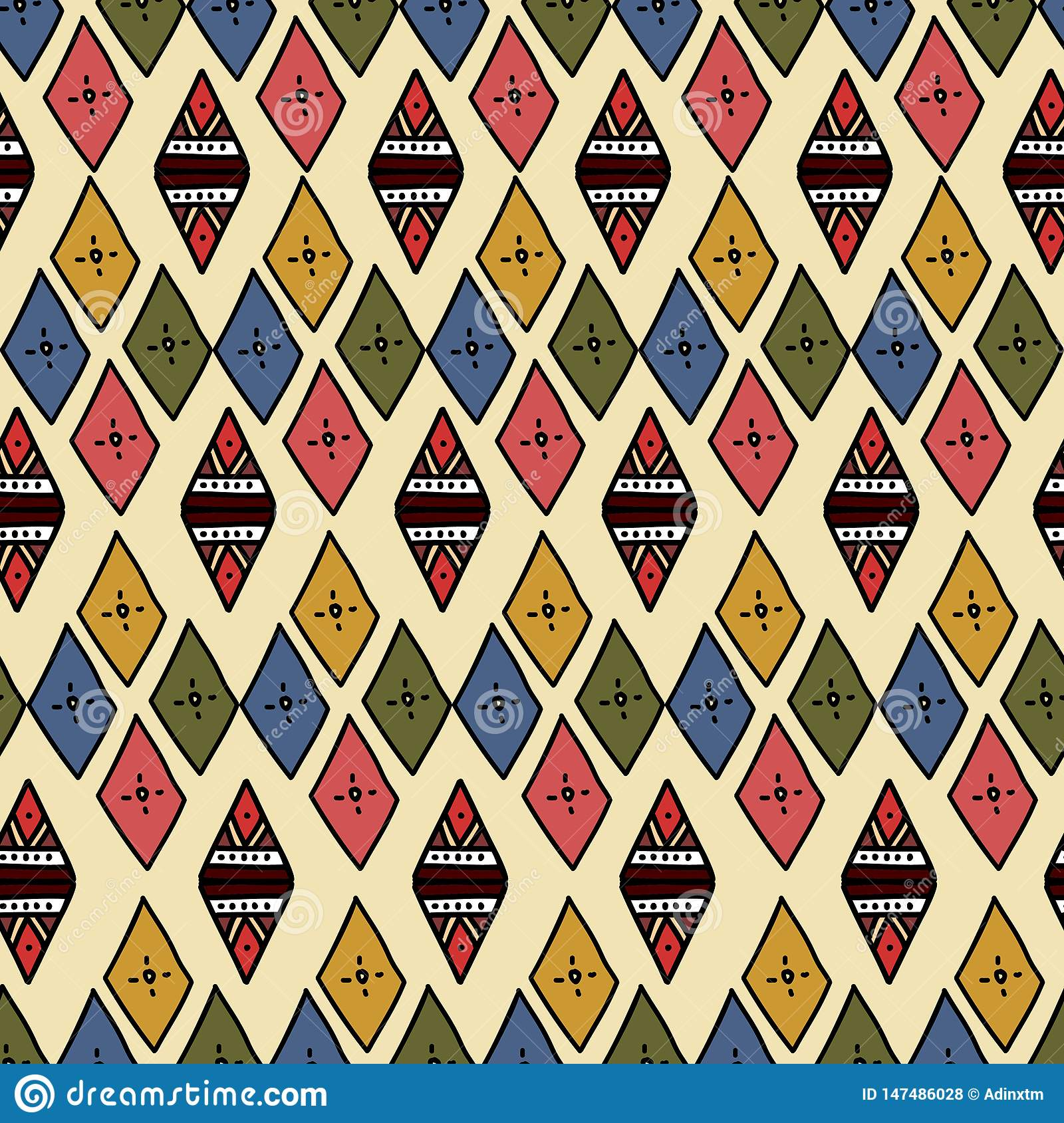 Ikat Geometric Pattern With Tribal Background Vector