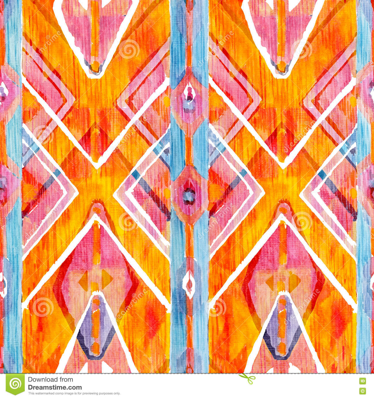 Ikat geometric red and orange authentic pattern in watercolour style. Watercolor seamless .