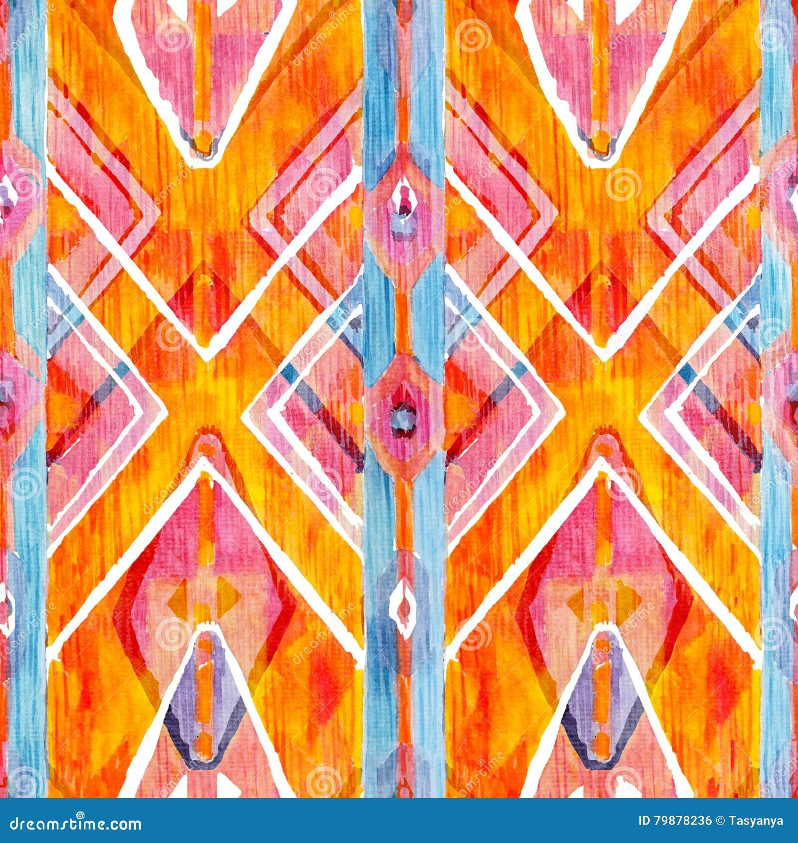 Ikat geometrisk röd och orange autentisk modell i akvarellstil Sömlös vattenfärg