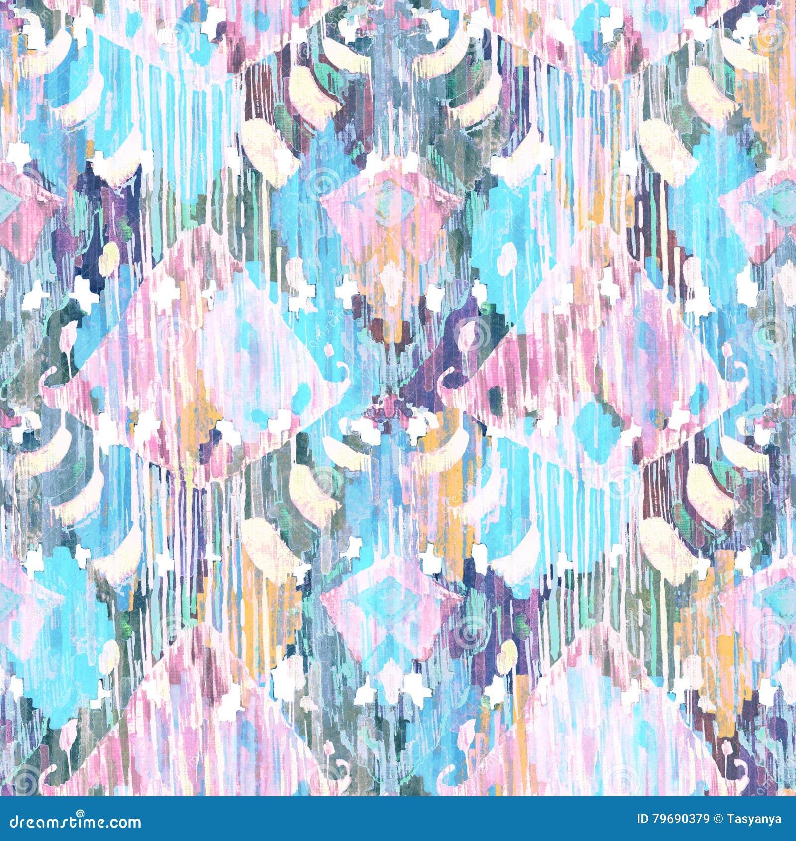 Ikat naadloos Boheems etnisch patroon in watercolourstijl