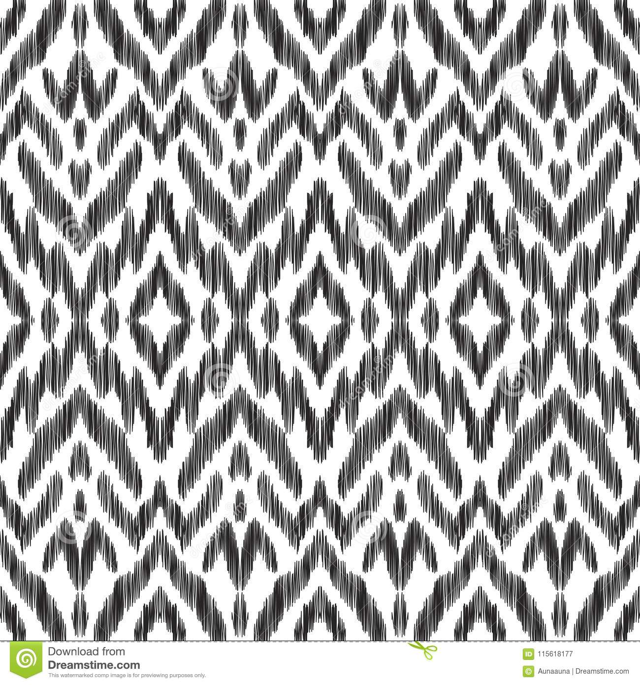 Ikat Seamless Pattern Surface Design For Print Fabric Wallpaper Gift Wrap Texture Tribal Vector Illustration Black And White Background