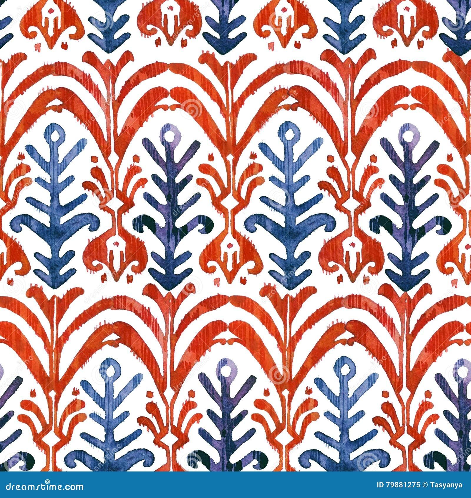 Ikat watercolor seamless pattern. Floral vibrant watercolour