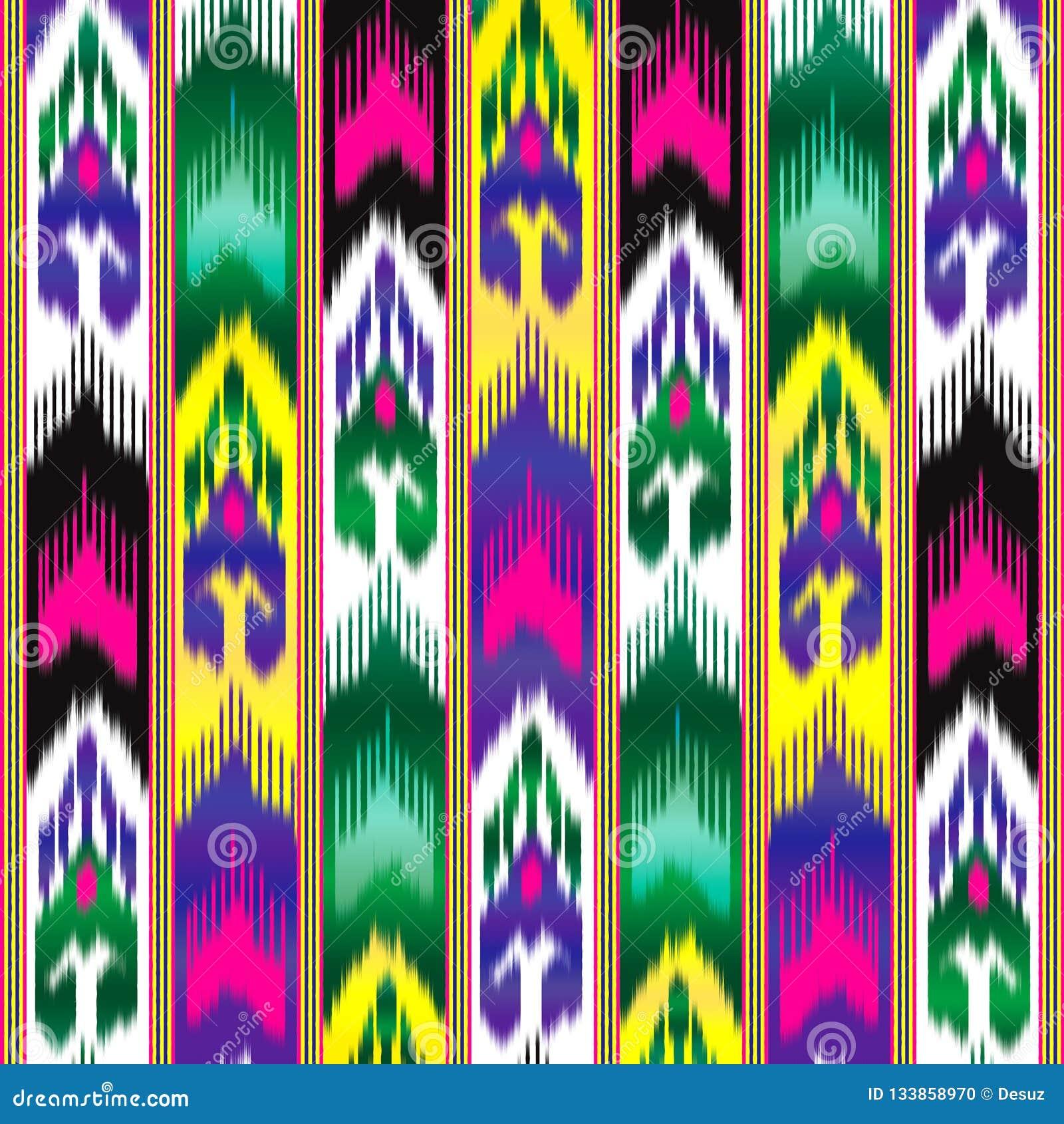Ikat Wschodnia tkanina azjata wzór Tradycyjny obywatel odziewa