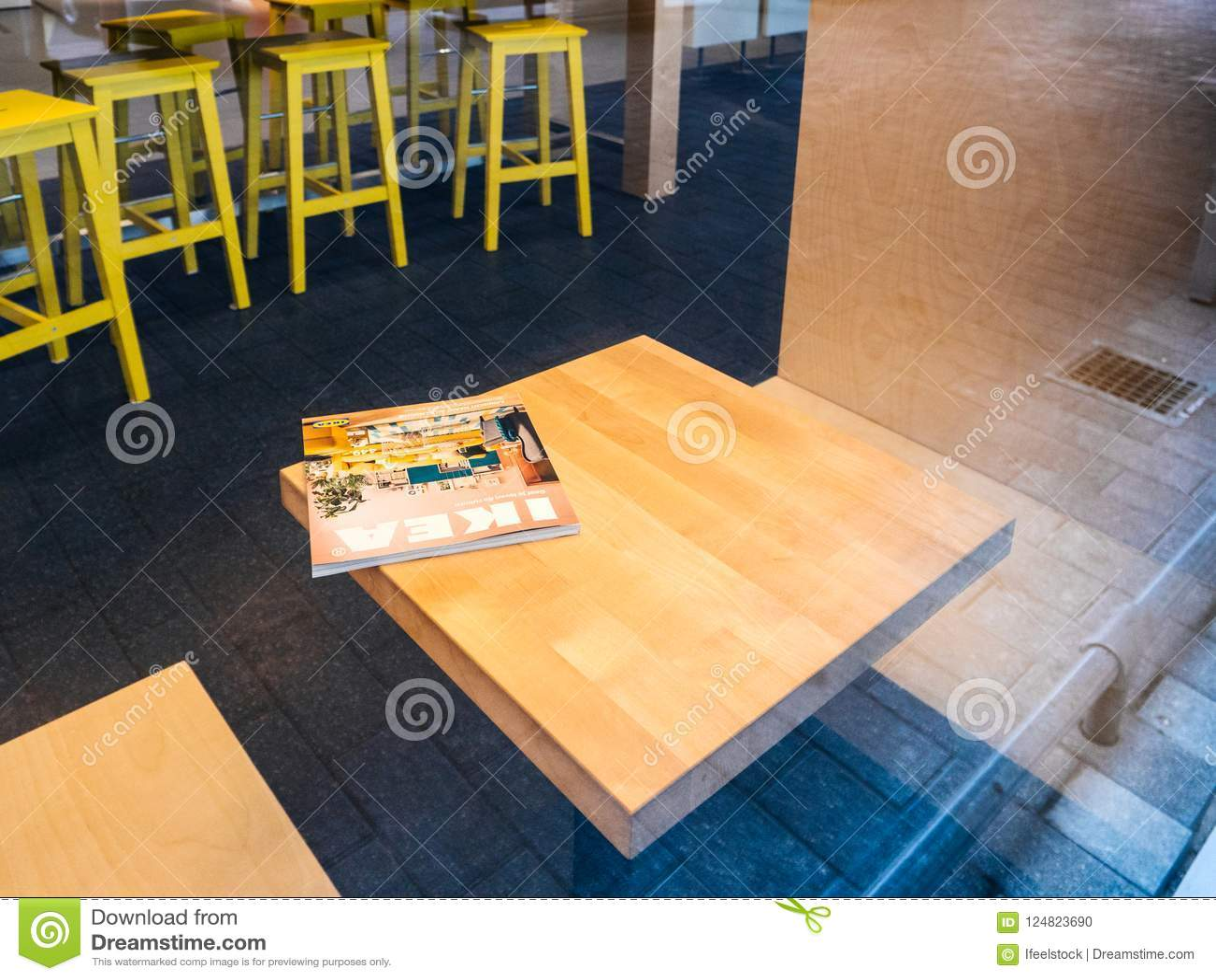 Ikea Catalogue On Cafe Table Inside Furniture Supermarket Editorial