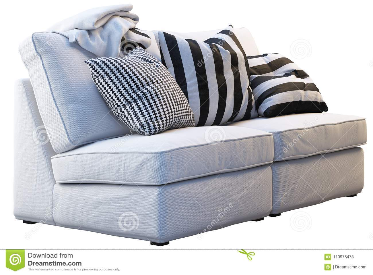 Ikea Kivik Sofa With Plaids And Pillows Stock Photo Image Of