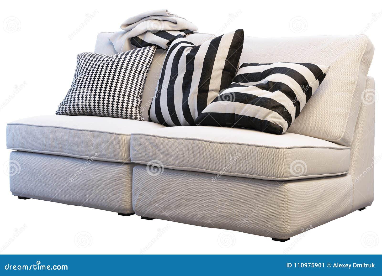 Ikea Kivik Sofa With Plaids And Pillows Stock Image Image Of