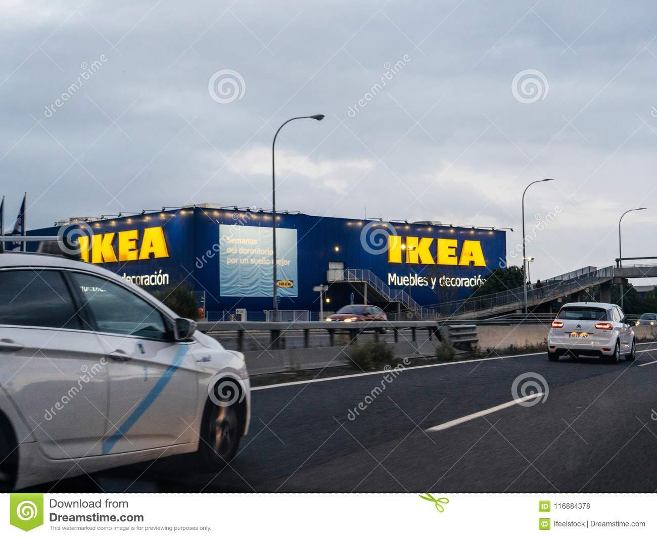 Ikea In Palma De Mallorca Spain With Cars Highway Editorial Stock