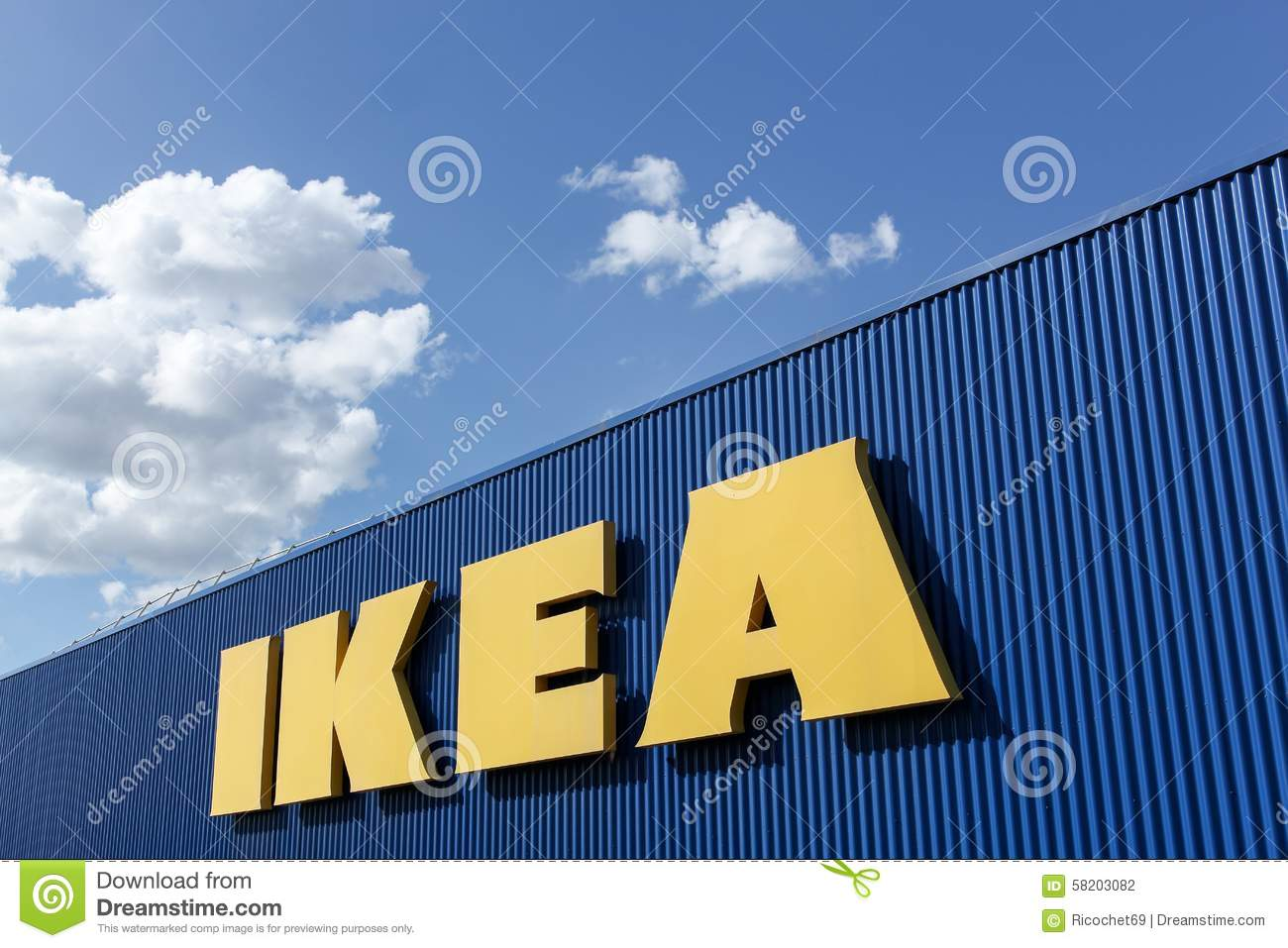ikea sign on a wall editorial photography image of purchase 58203082. Black Bedroom Furniture Sets. Home Design Ideas