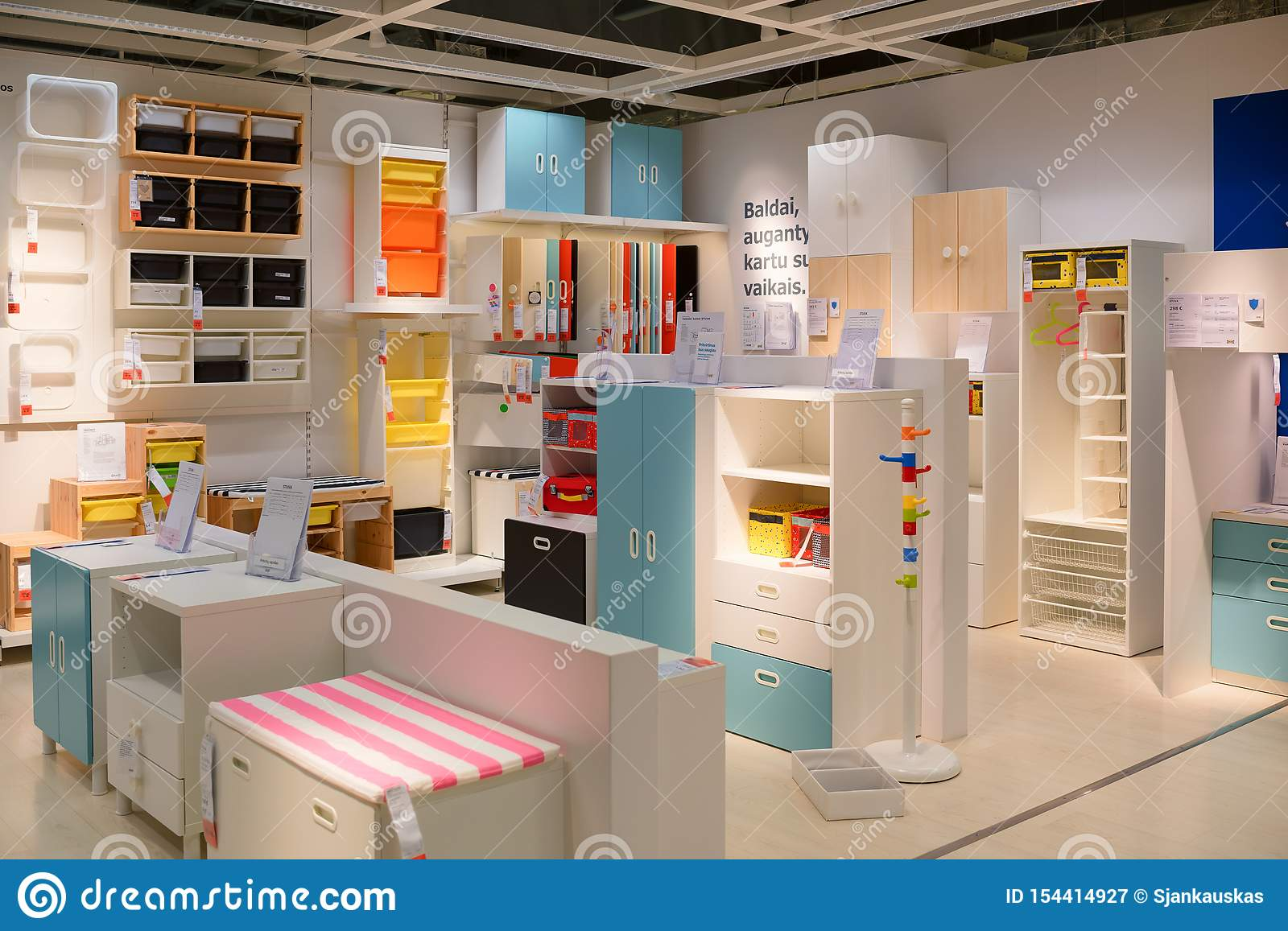 Ikea store, kids furniture editorial photography. Image of