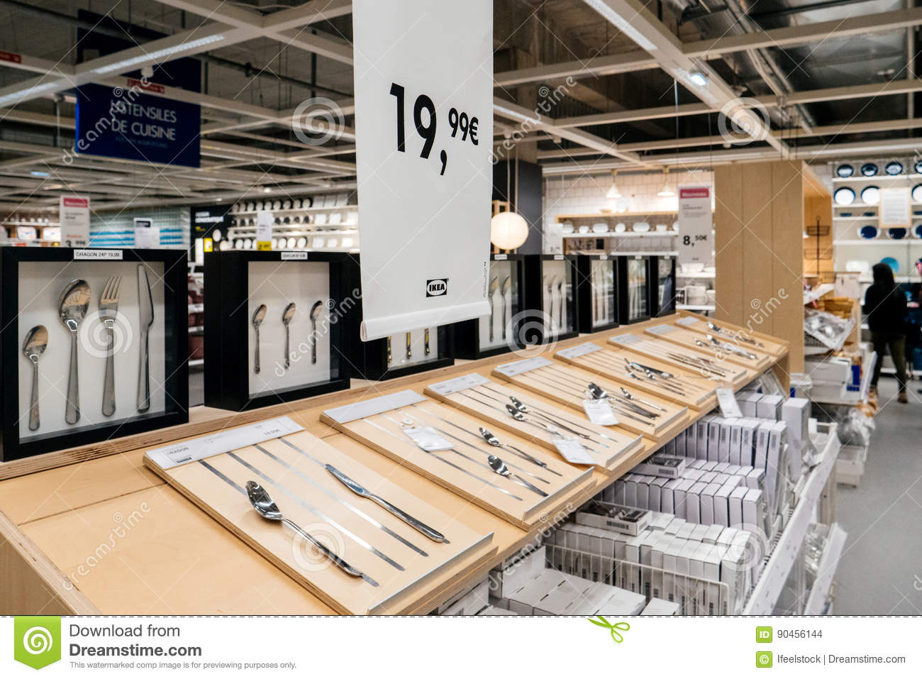 PARIS, FRANCE   APR 10, 2017: Diverse Tableware And Cutlery Solutions For  Sale Inside IKEA Furniture Hypermarket Store