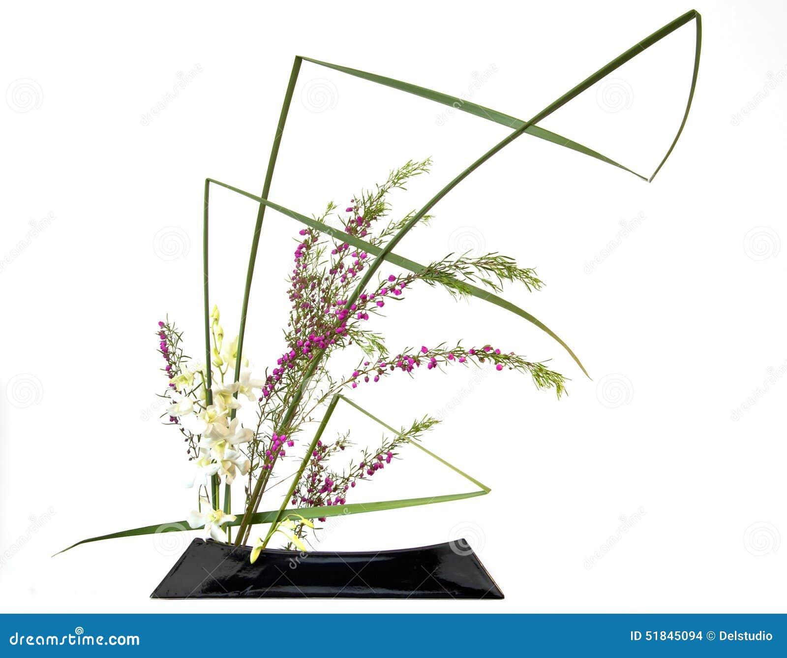 Ikebana De Composition Florale En Style Japonais Photo stock - Image